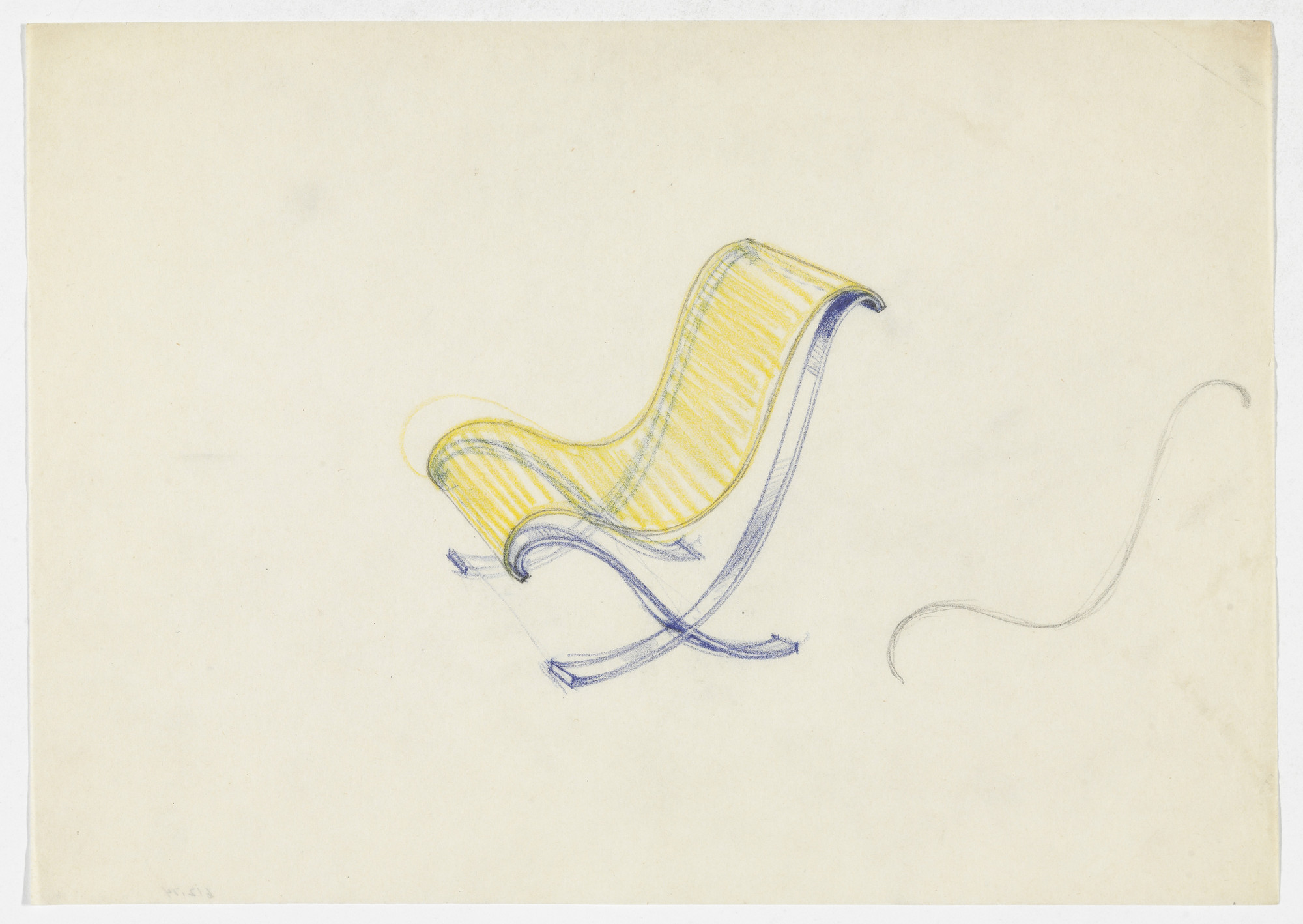 Ludwig Mies van der Rohe. Lounge Chair without Arms. Frame. (Perspective sketch; elevation sketch). 1934