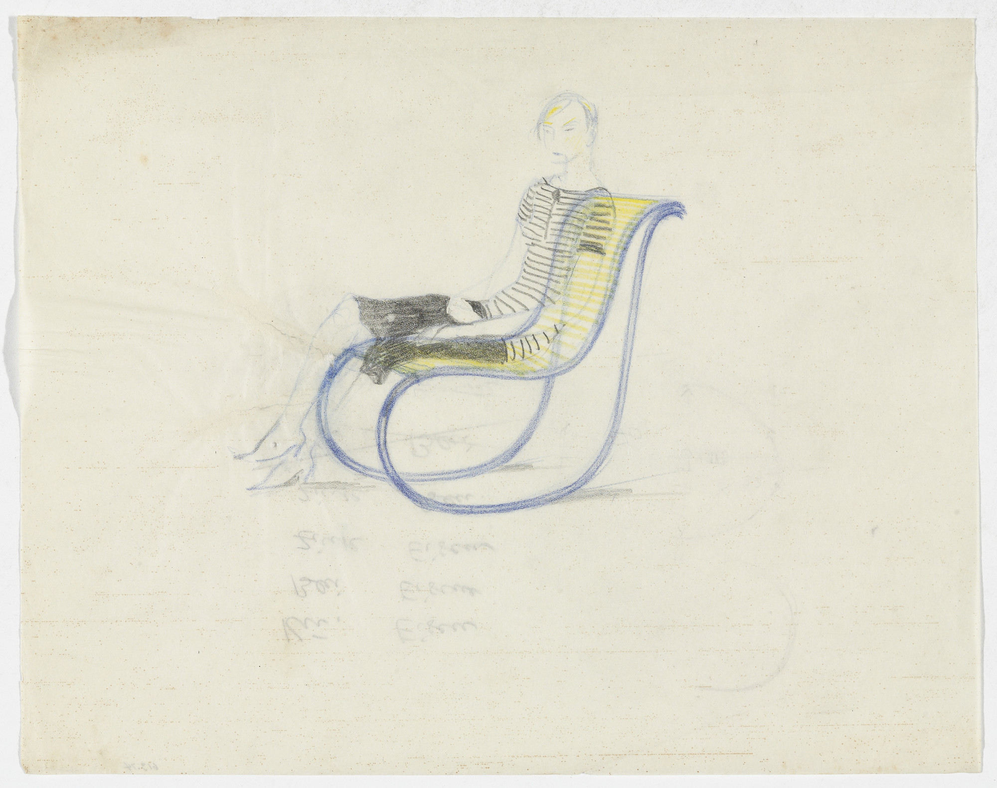 Ludwig Mies van der Rohe. Lounge Chair without Arms, with Figure. 1934