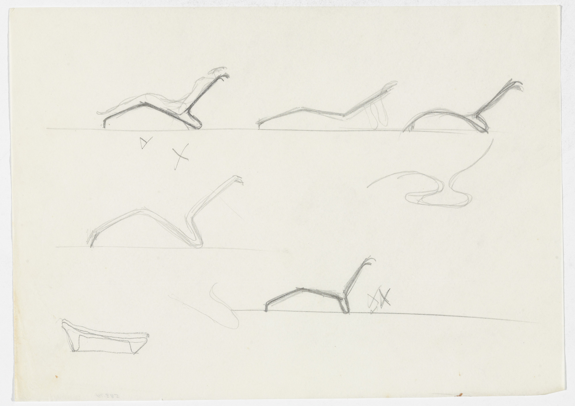 Ludwig Mies van der Rohe. Reclining Chair without Arms (Seven elevation sketches, one with figure). 1931-1932