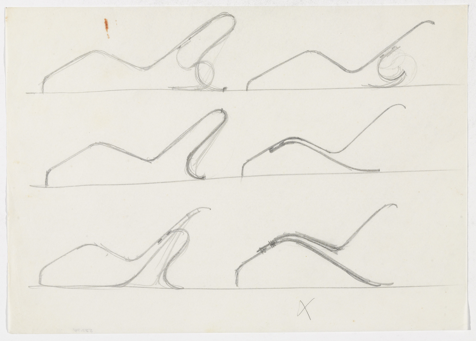 Ludwig Mies van der Rohe. Reclining Chair without Arms (Six elevation sketches). 1931-1932
