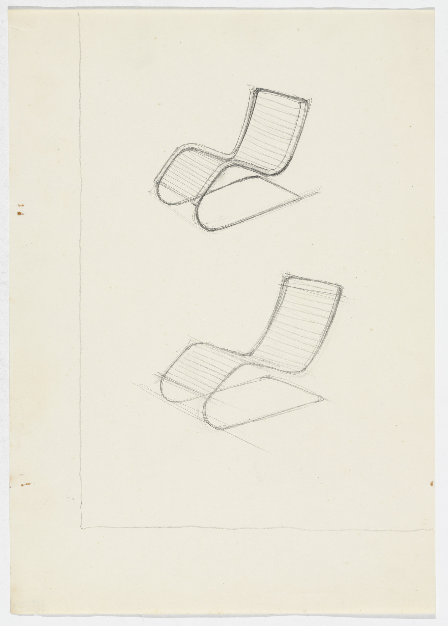 Ludwig Mies van der Rohe. MR100 Reclining Chair (Two perspective sketches). early 1930s