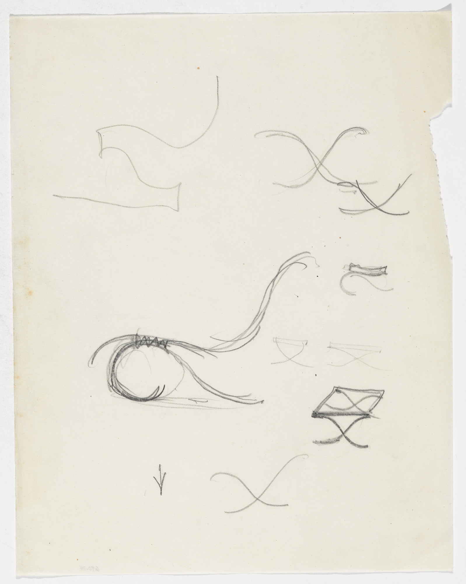 Ludwig Mies van der Rohe. Lounge Chair without Arms. Barcelona Stool. (Elevation sketches). 1933-1934