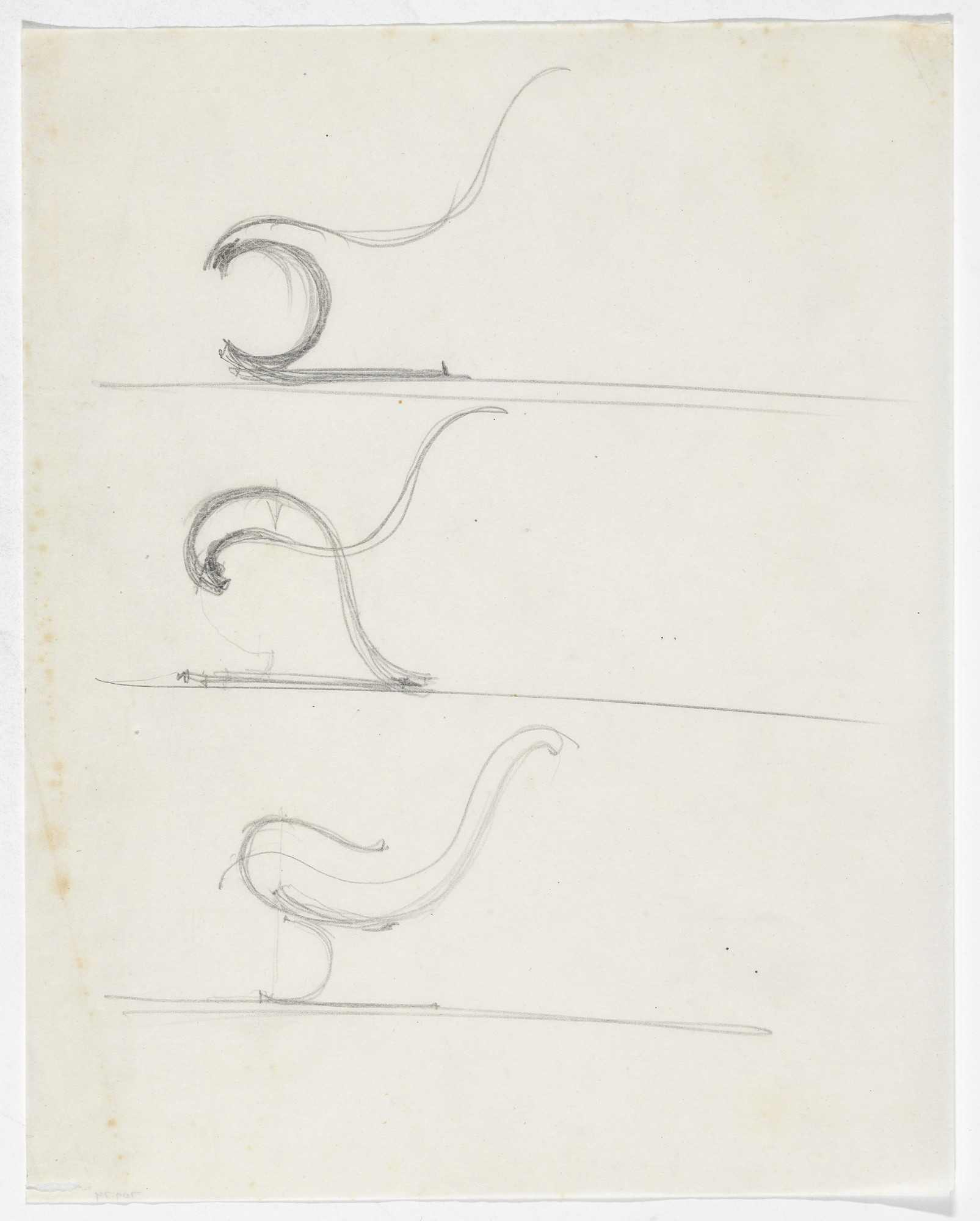 Ludwig Mies van der Rohe. Chair with Arms (Elevation sketch). 1933-1934