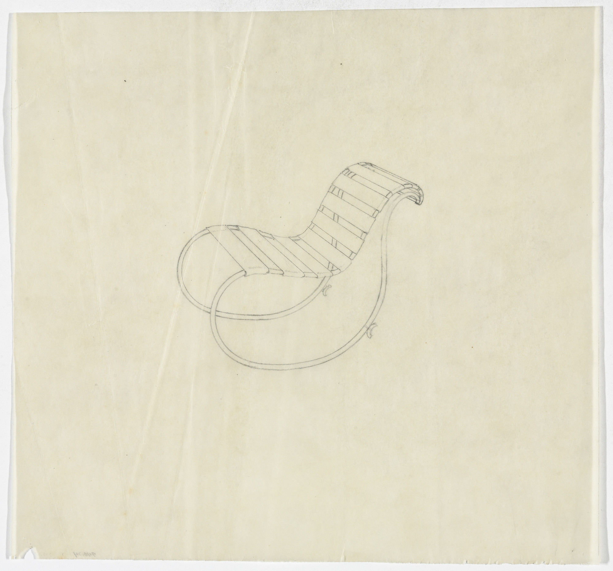 Ludwig Mies van der Rohe. Lounge Chair with Rocker, without Arms (Perspective sketch). 1934