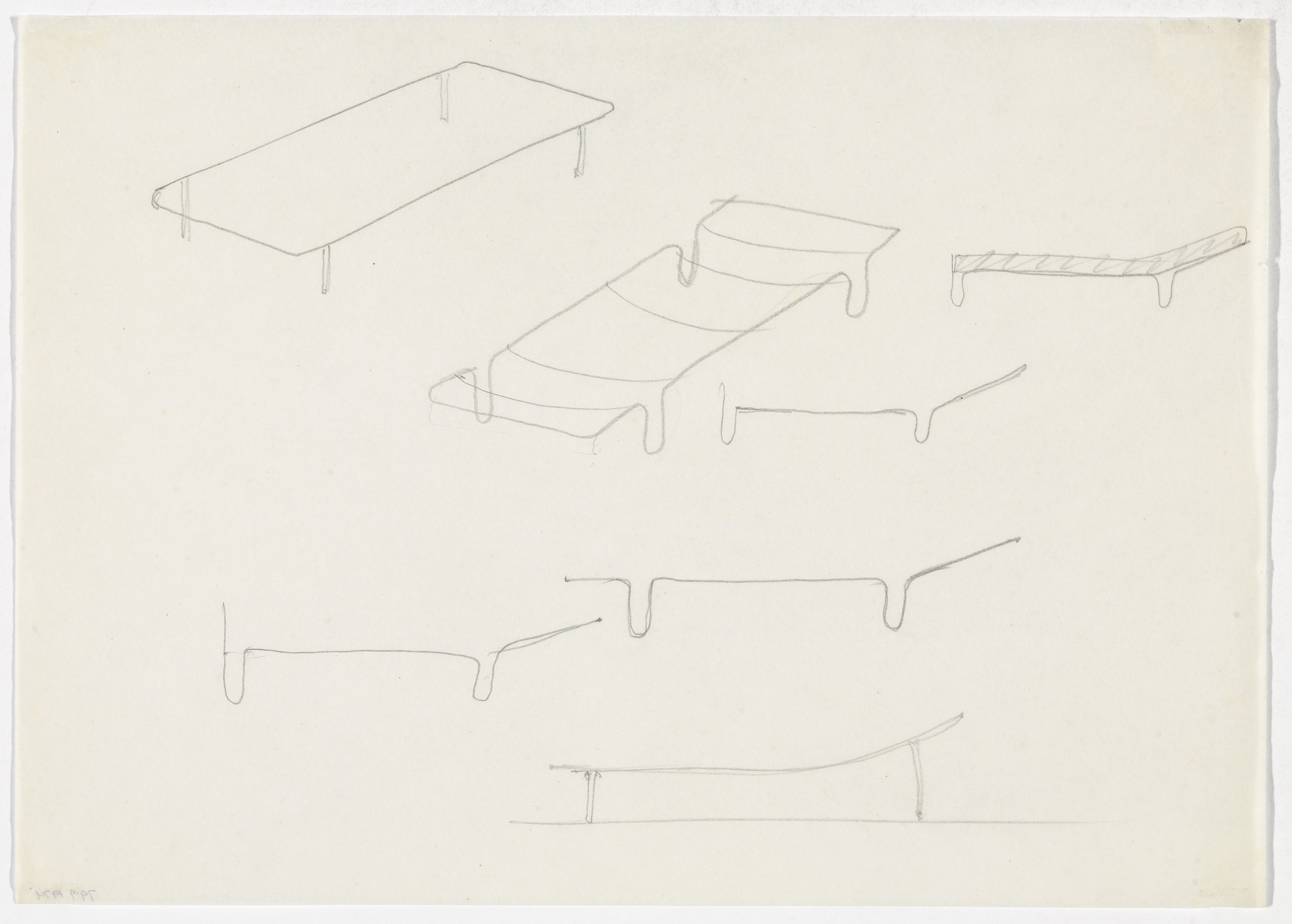 Ludwig Mies van der Rohe. Day Bed. Day Bed Frame. (Perspective sketches, elevation sketches). early 1930s