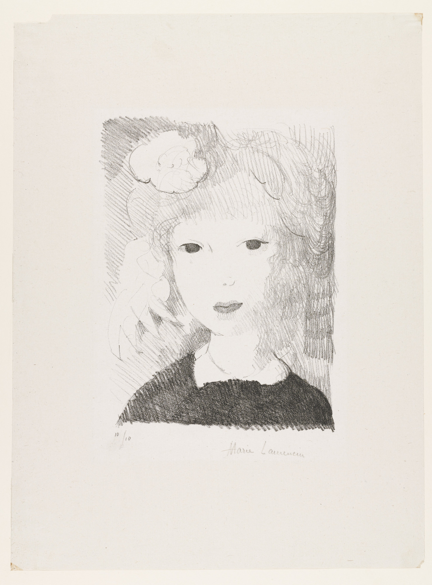 Marie Laurencin. Little Girl with Rose (Petite fille à la rose). 1926
