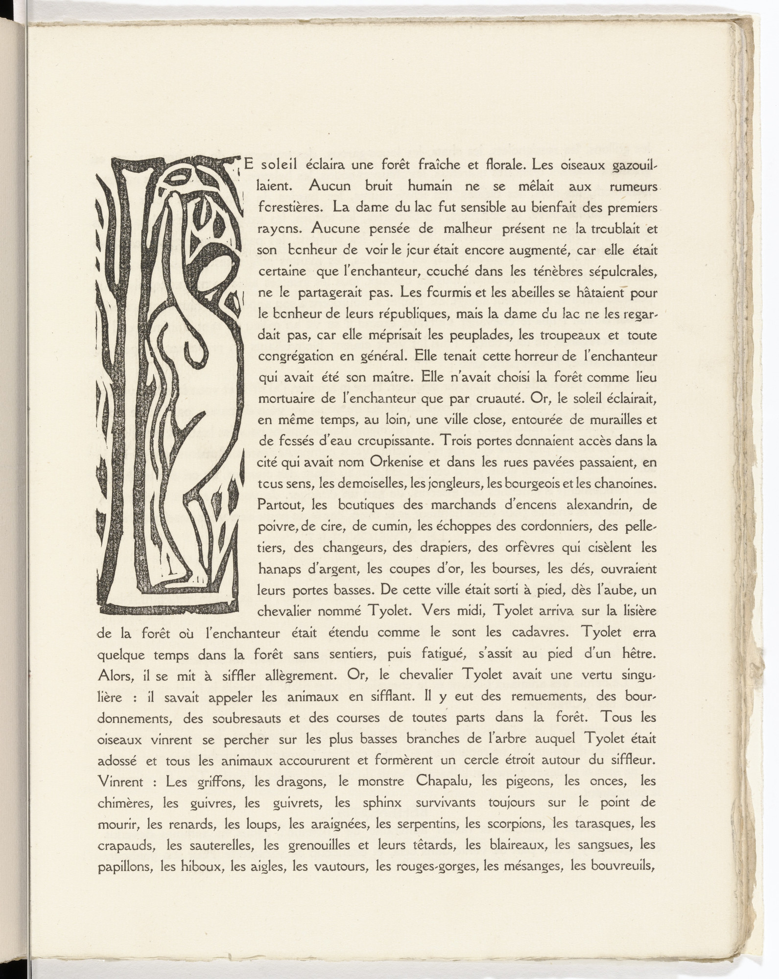 André Derain. Pictorial initial L (folio 21) from L'Enchanteur pourrissant. 1909