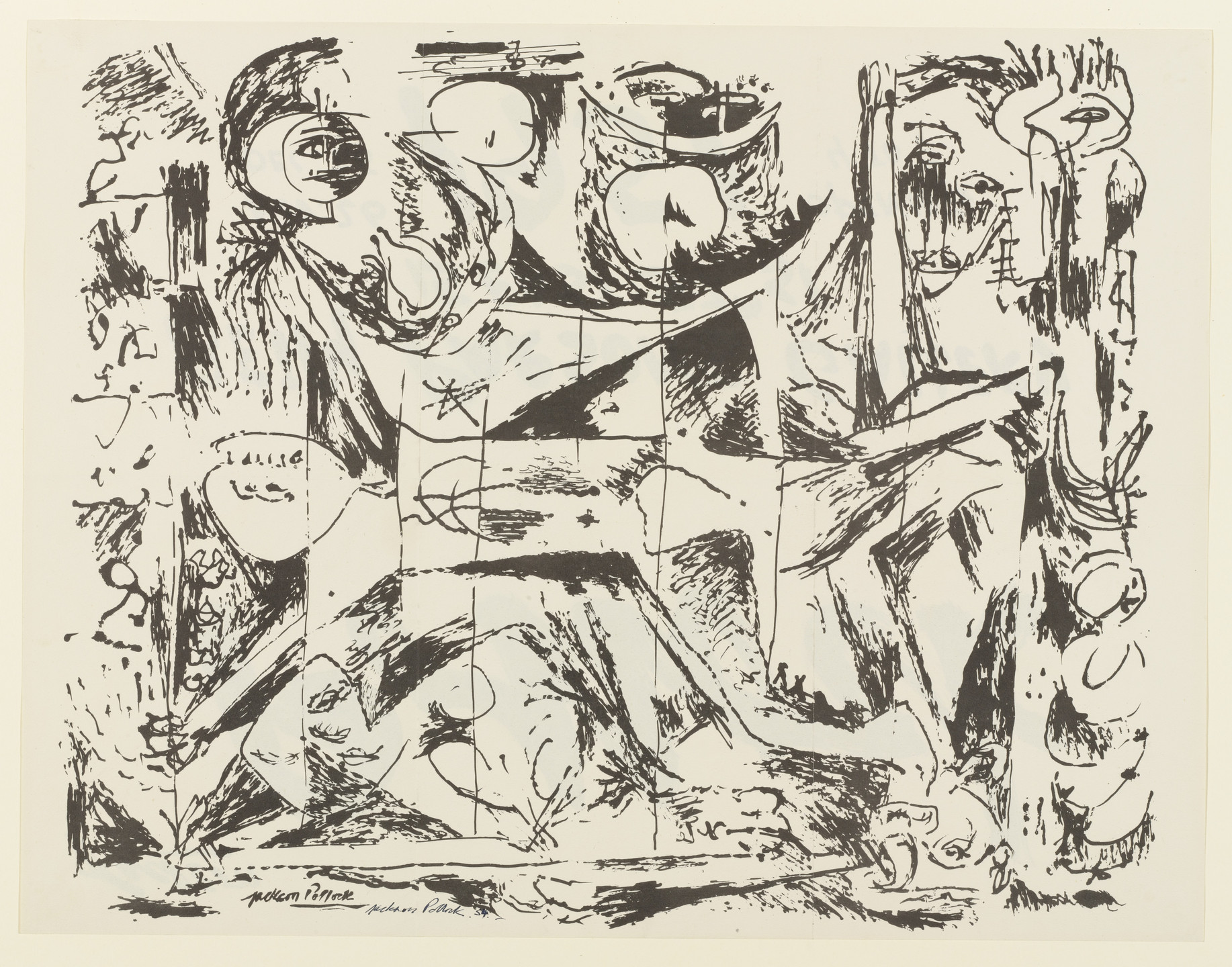 Jackson Pollock. Exhibition Announcement, Betty Parsons Gallery, Nov. 26-Dec. 15, 1951. 1951, signed 1954
