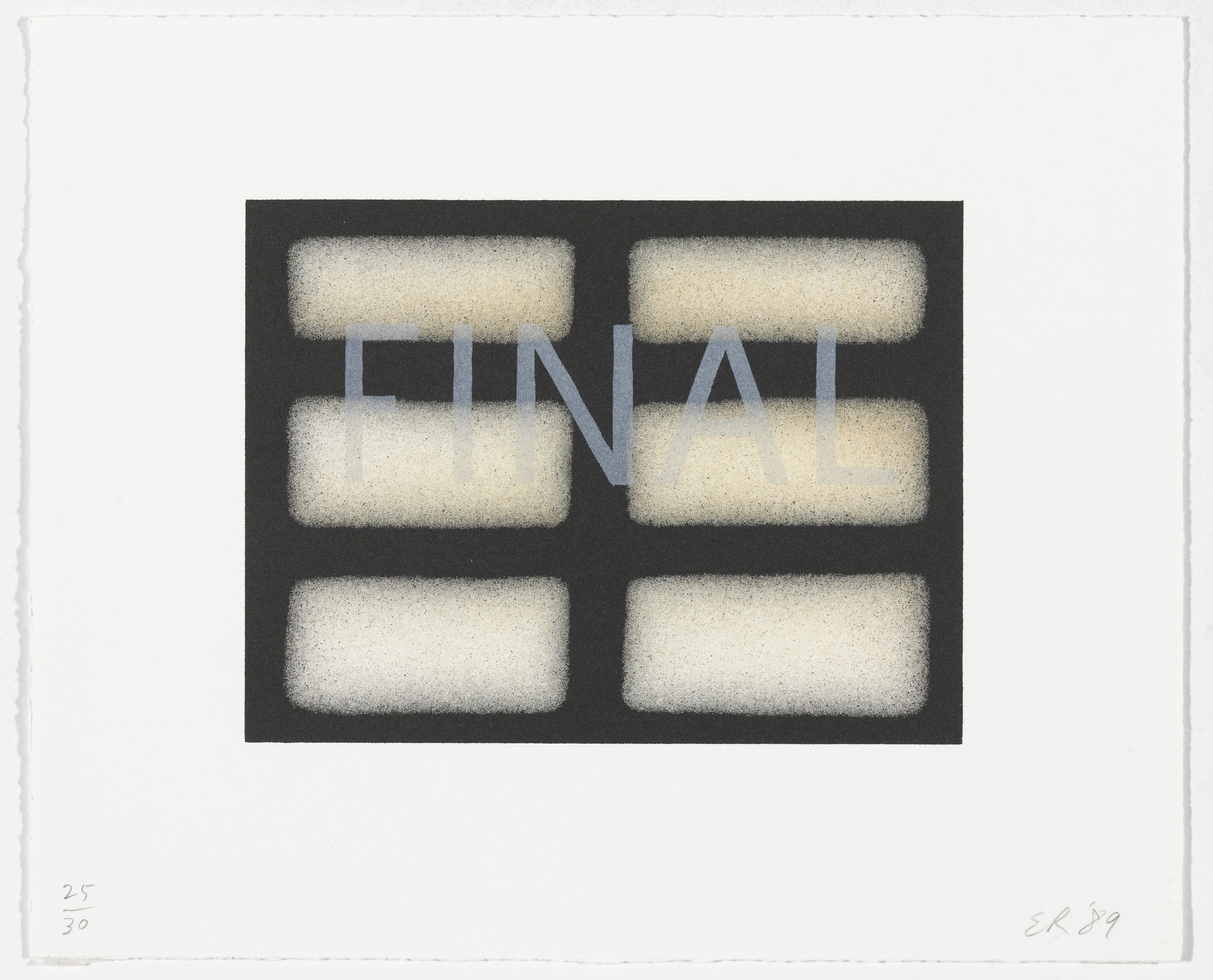 Edward Ruscha. Final from That Is Right And Other Similarities. 1989