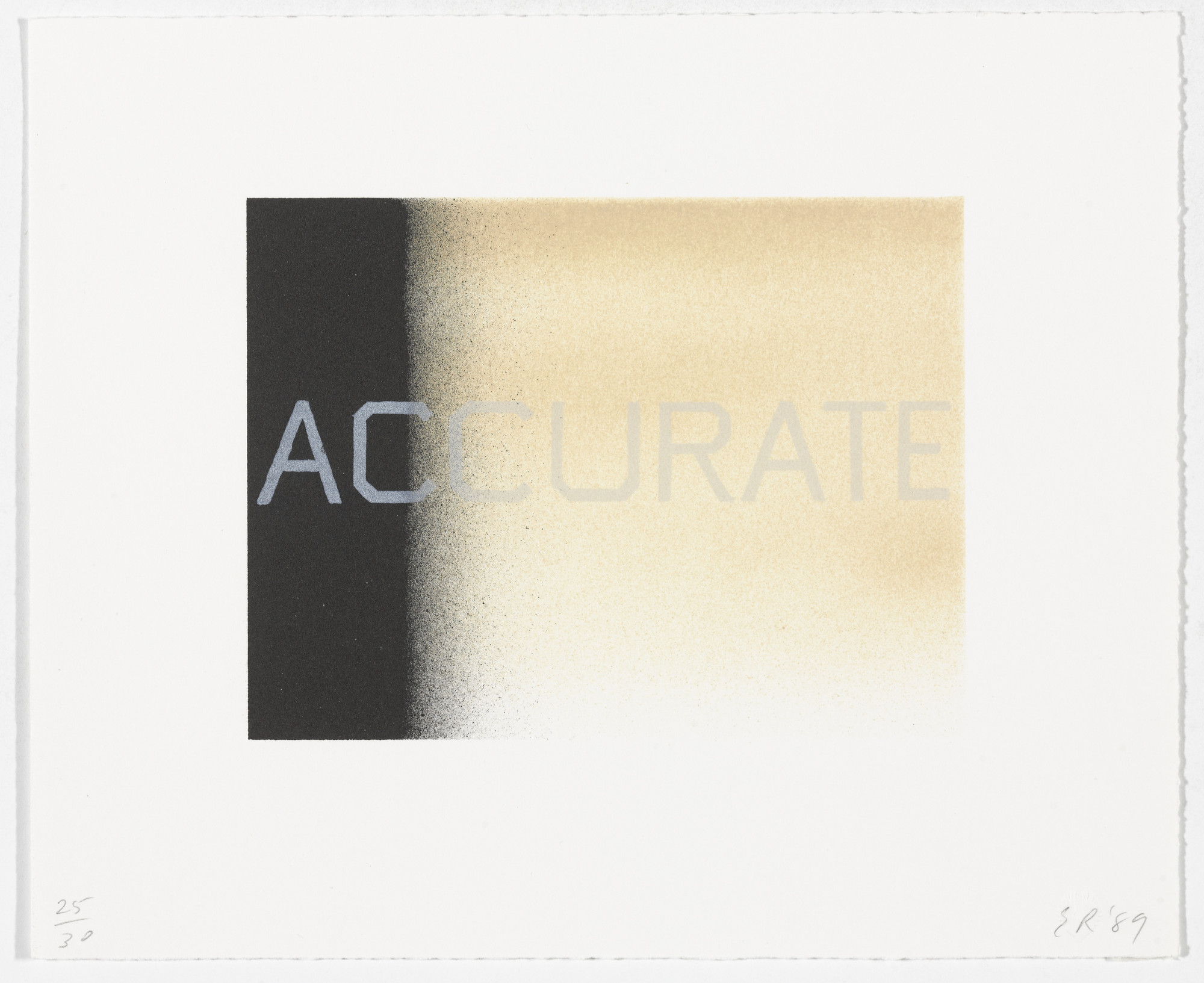 Edward Ruscha. Accurate from That Is Right And Other Similarities. 1989