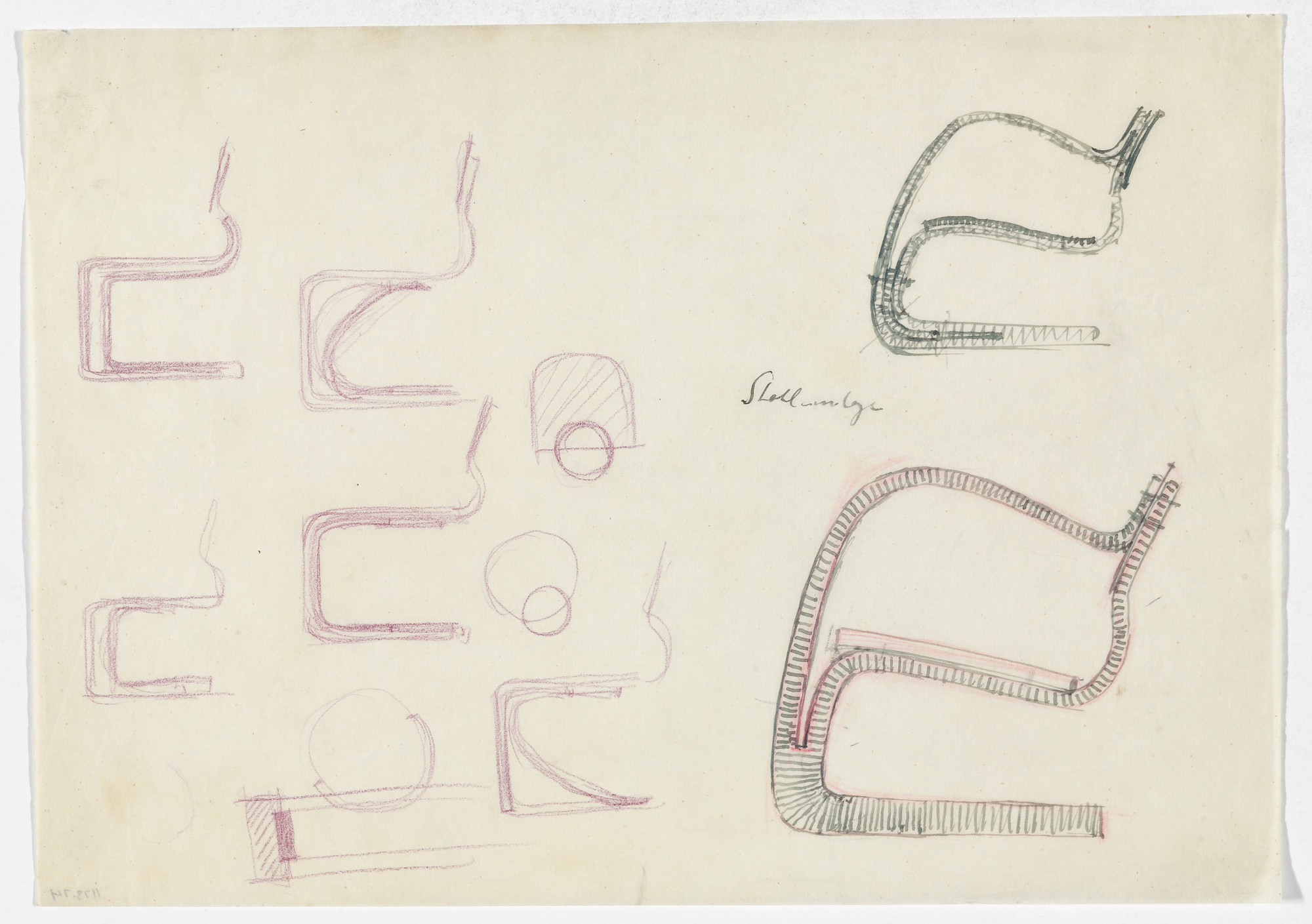 Ludwig Mies van der Rohe. Lounge Chair with Arms. Chair without Arms. (Elevation sketches). 1934-1935