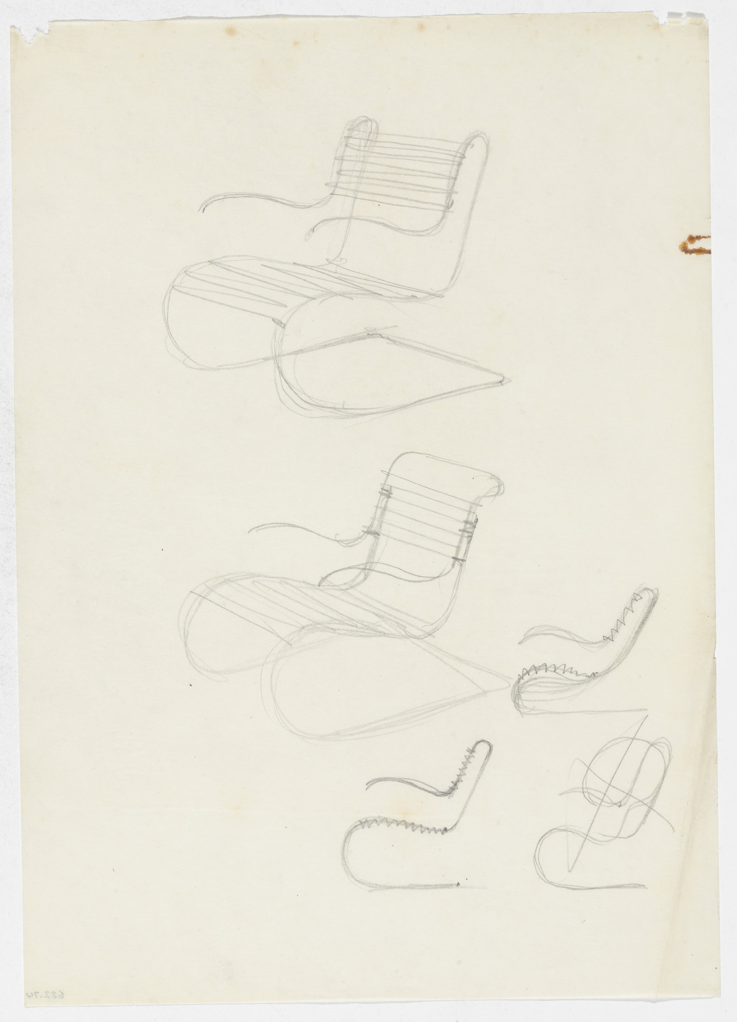 Ludwig Mies van der Rohe. Lounge Chair with Arms (Two perspective sketches, three elevation sketches). early 1930s