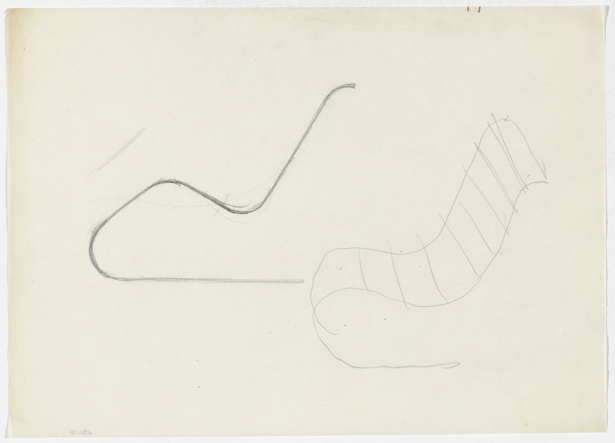 Ludwig Mies van der Rohe. MR100 Reclining Chair (Elevation and perspective sketch). early 1930s