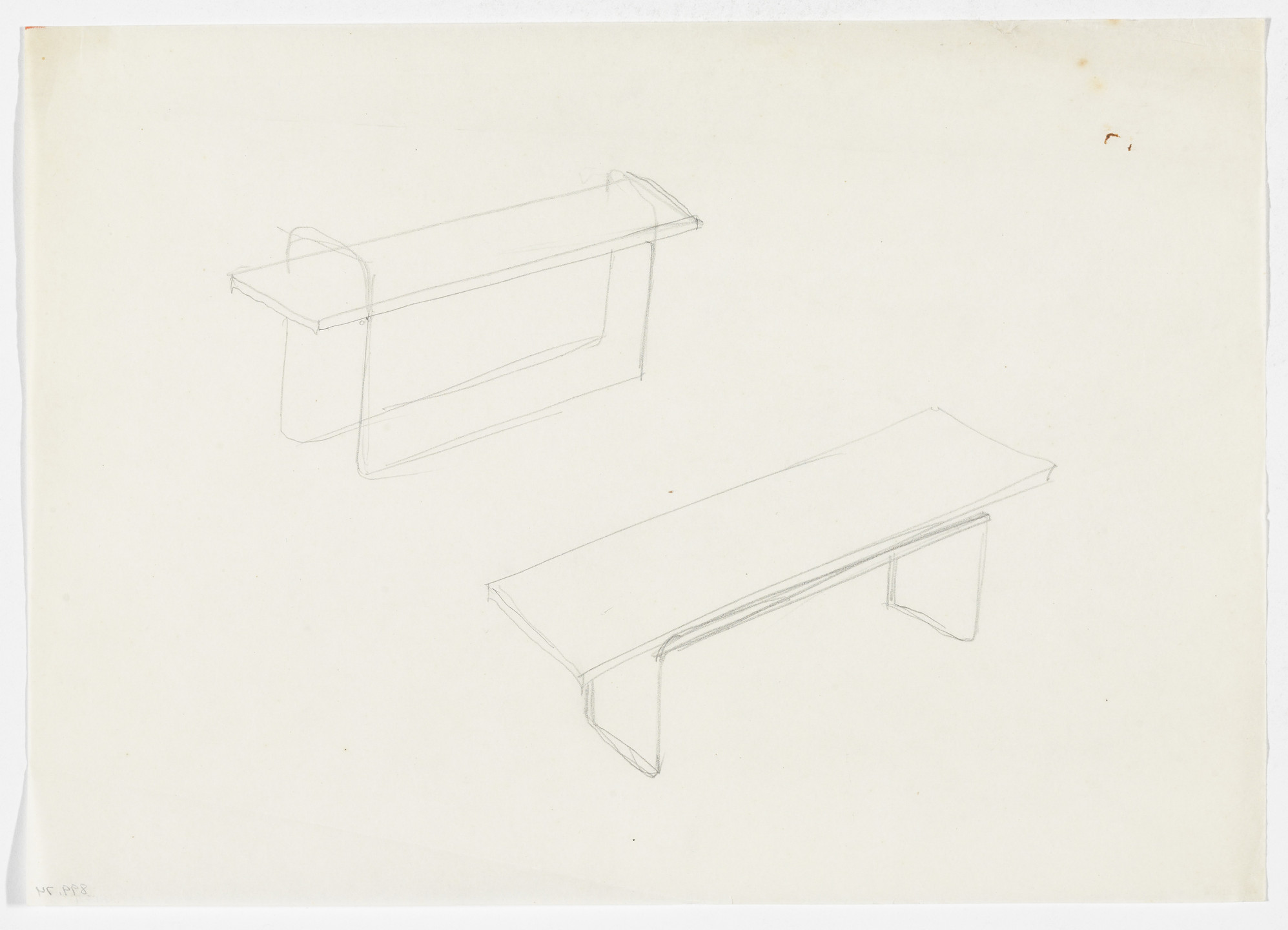 Ludwig Mies van der Rohe. Table (Perspective sketches). early 1930s