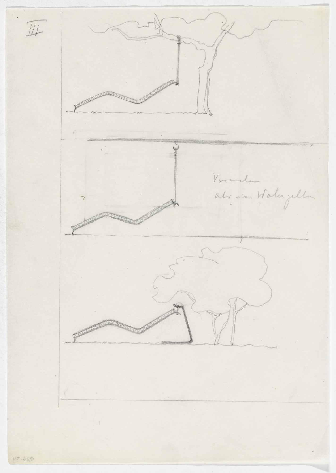 Ludwig Mies van der Rohe. Reclining Frames (Elevation sketches). 1931-1932