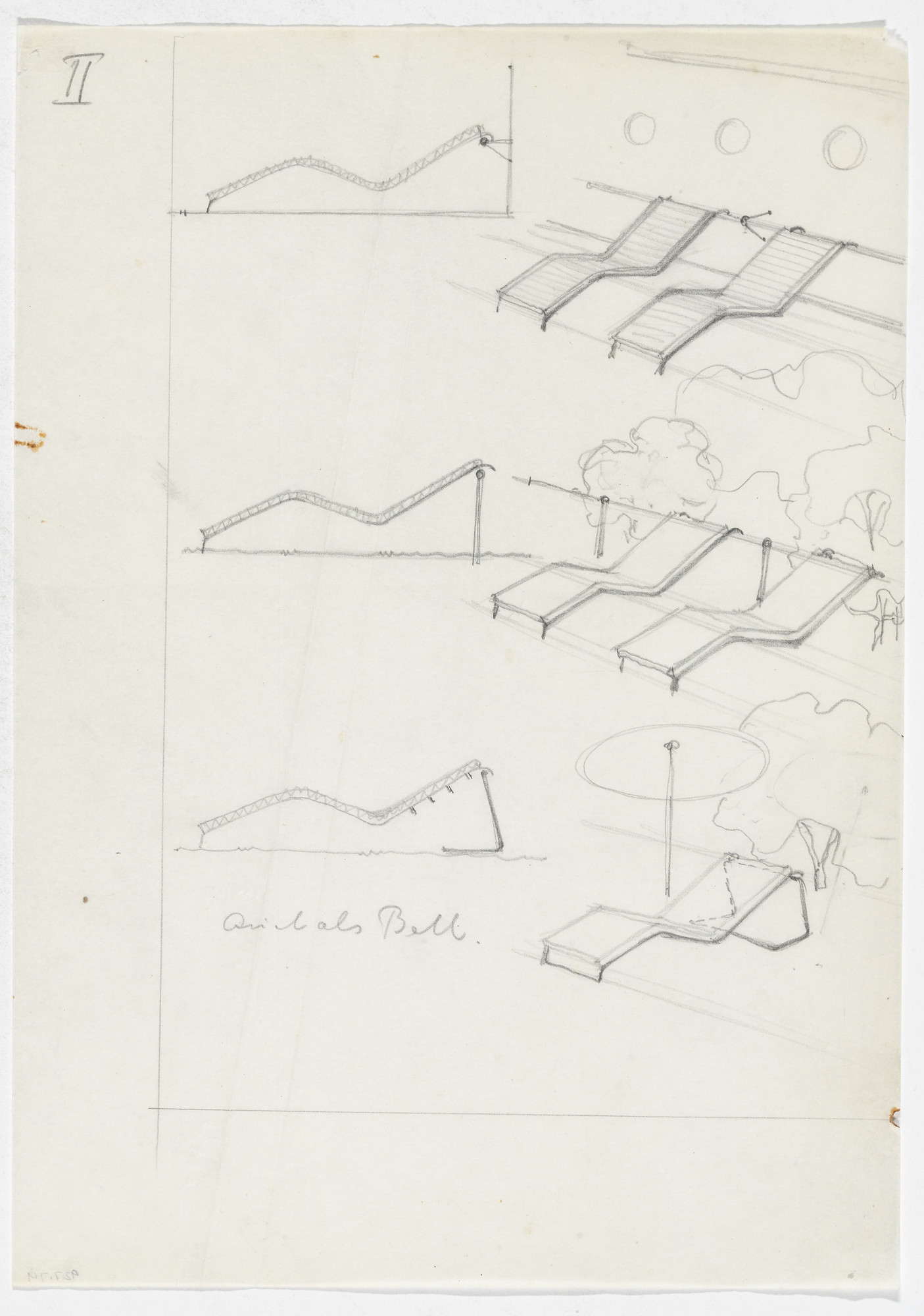 Ludwig Mies van der Rohe. Reclining Frames (Elevation sketches, perspective sketches). 1931-1932