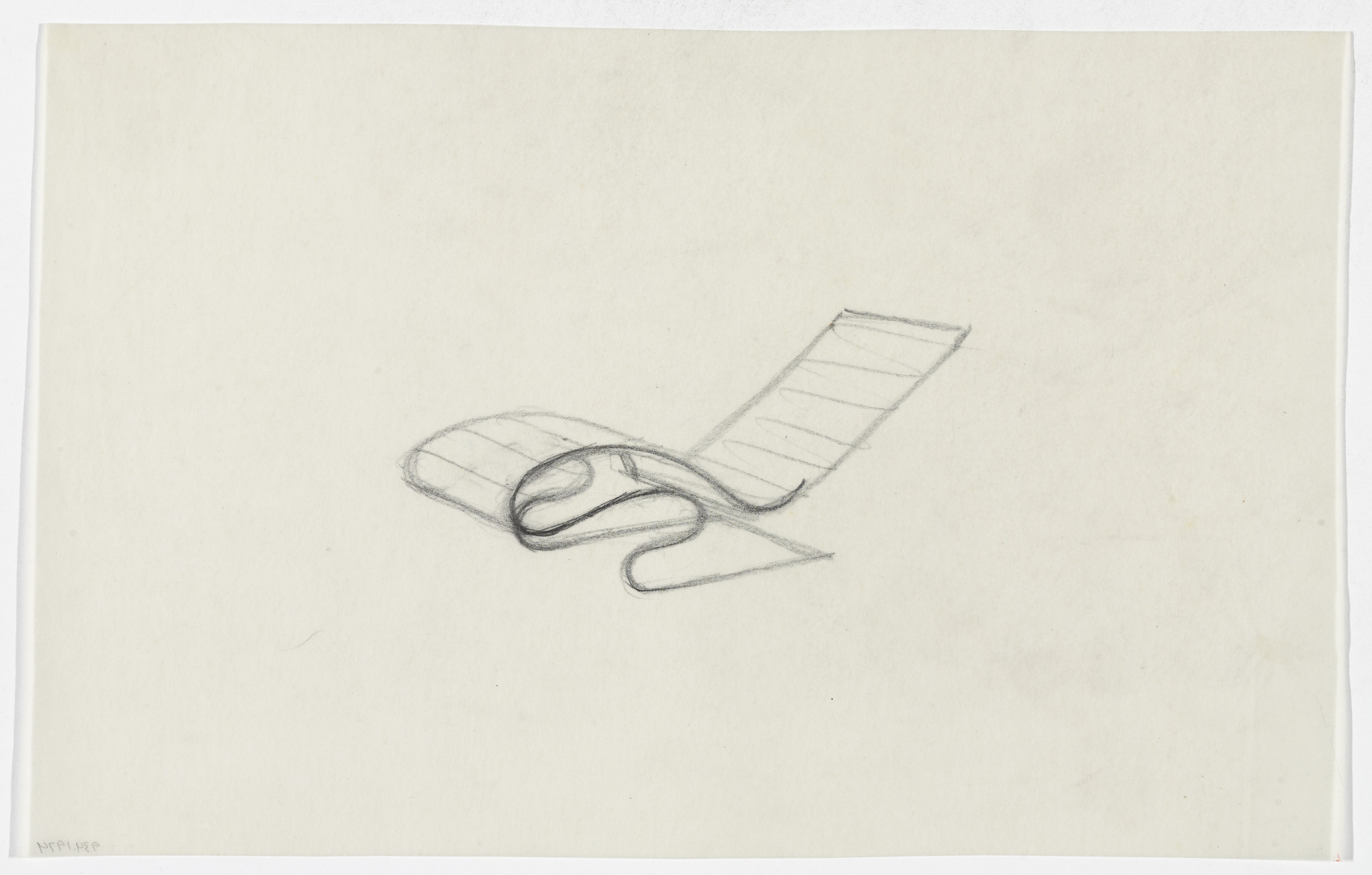 Ludwig Mies van der Rohe. Reclining Chair without Arms (Perspective sketch). early 1930s