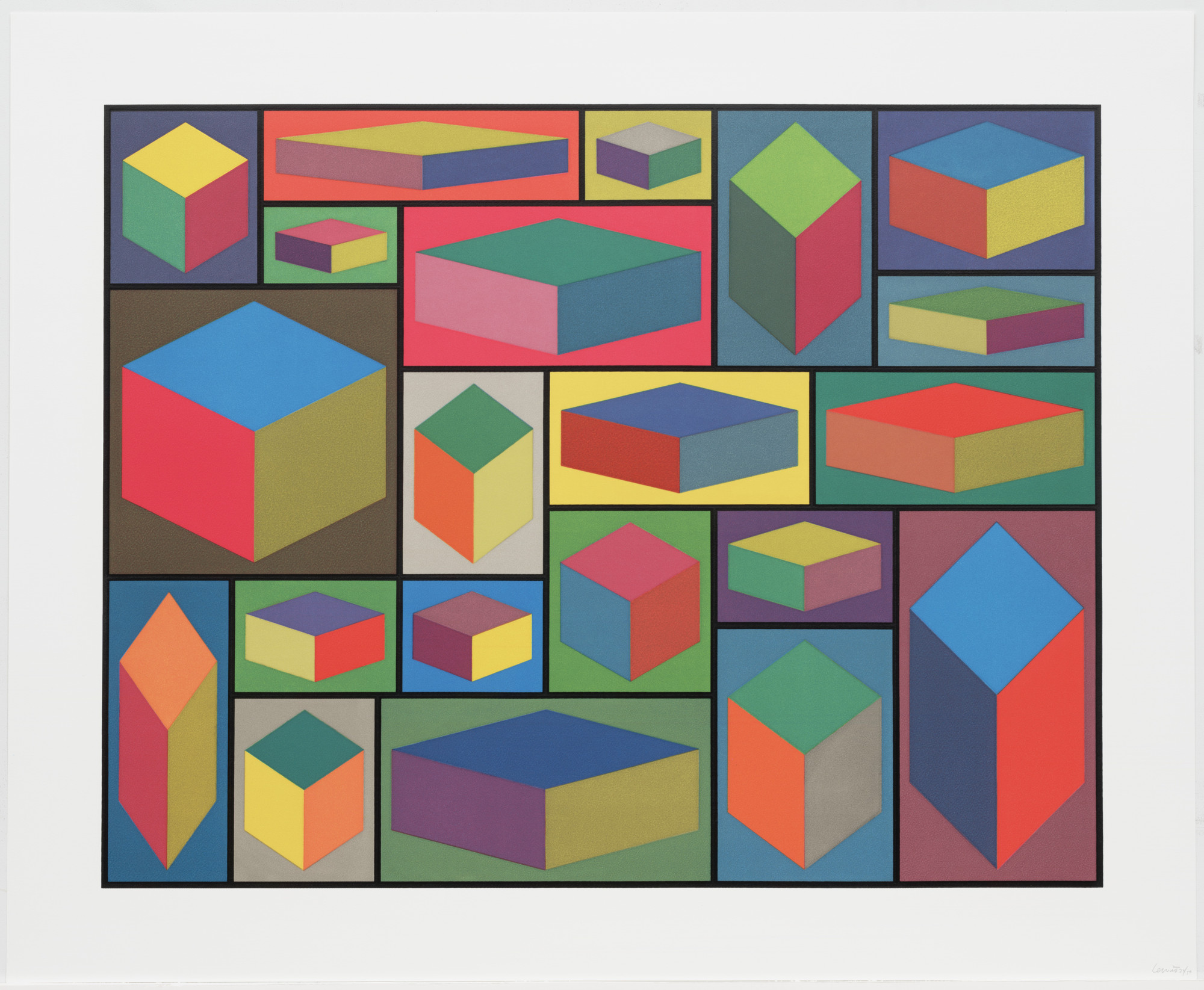 Sol LeWitt. Distorted Cubes © from Distorted Cubes (A-E). 2001