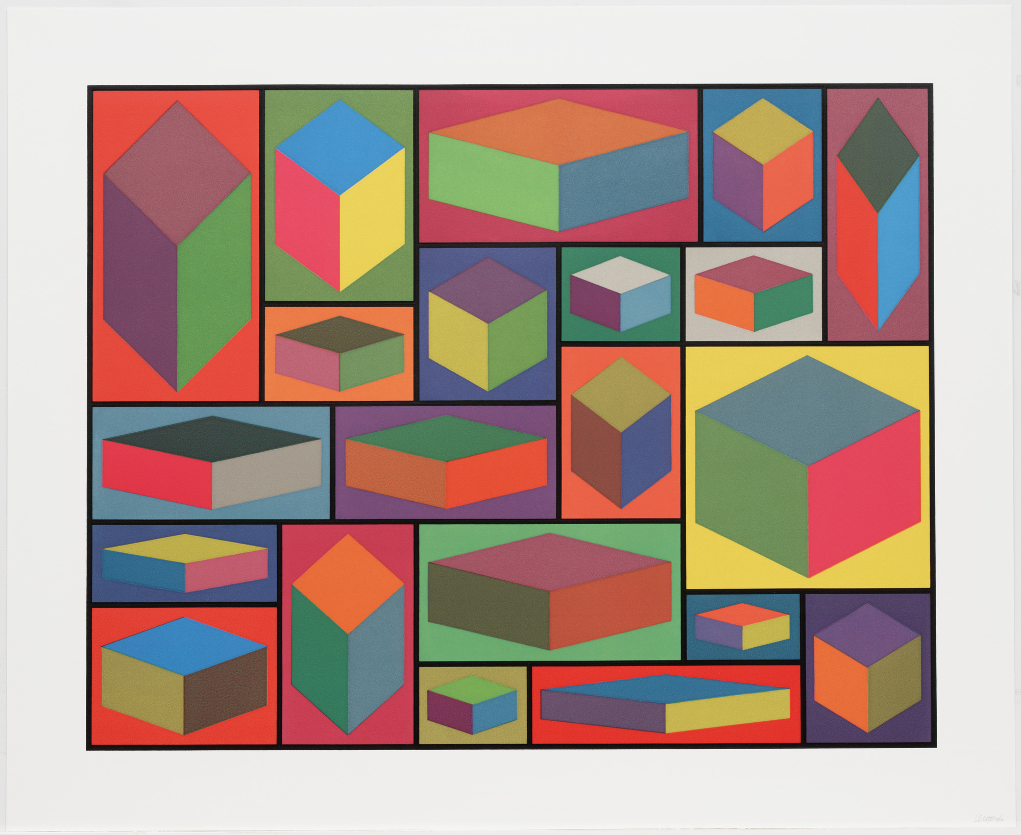 Sol LeWitt. Distorted Cubes (D) from Distorted Cubes (A-E). 2001