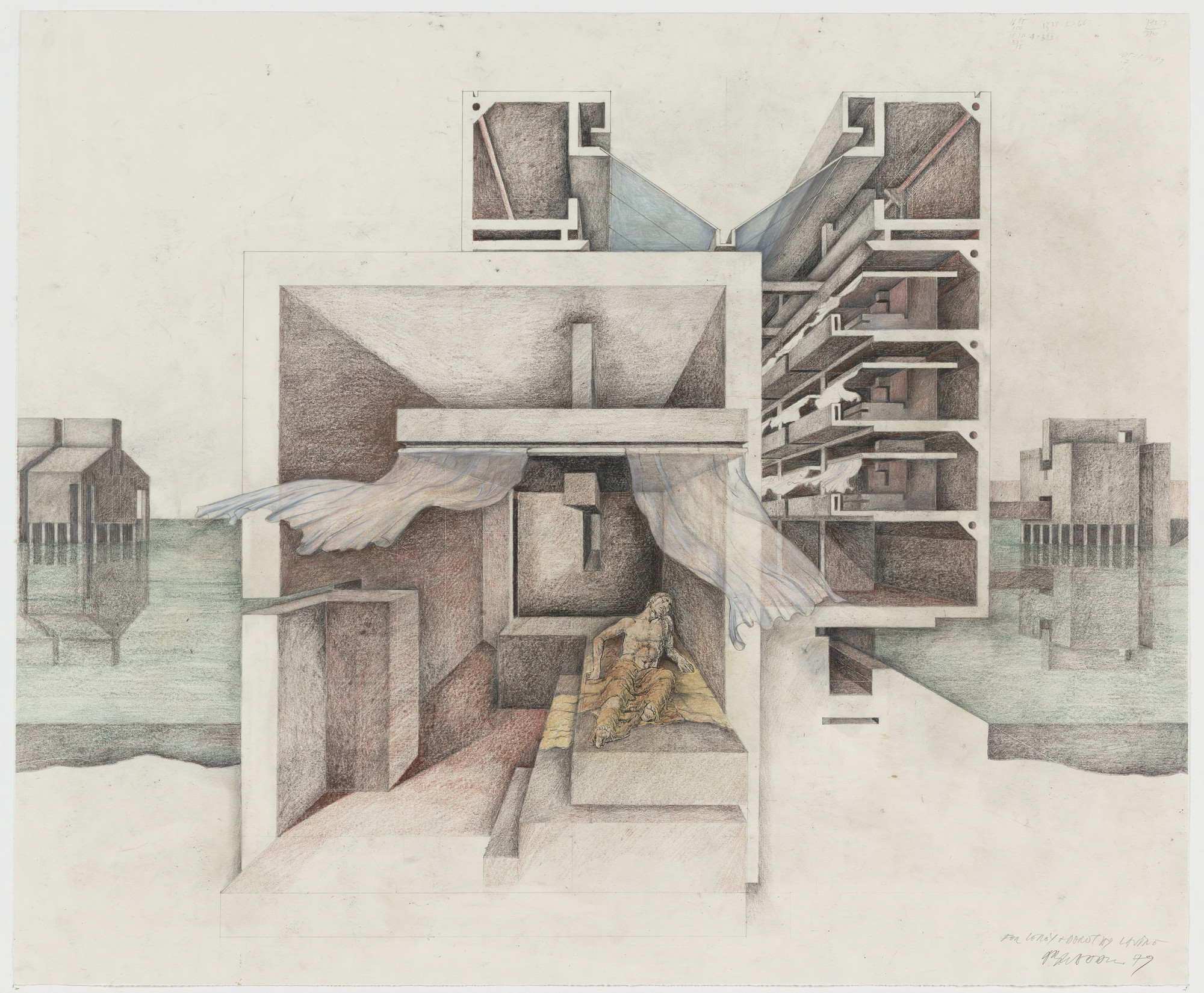 Raimund Abraham. Hospital: House of Hope, Houses of Birth, Houses of No Return, project, Venice, Italy, Sectional perspective. 1979