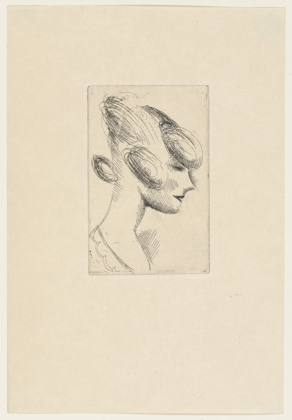 Elie Nadelman. Female Head from The Drypoints of Elie Nadelman. 1951, published 1952