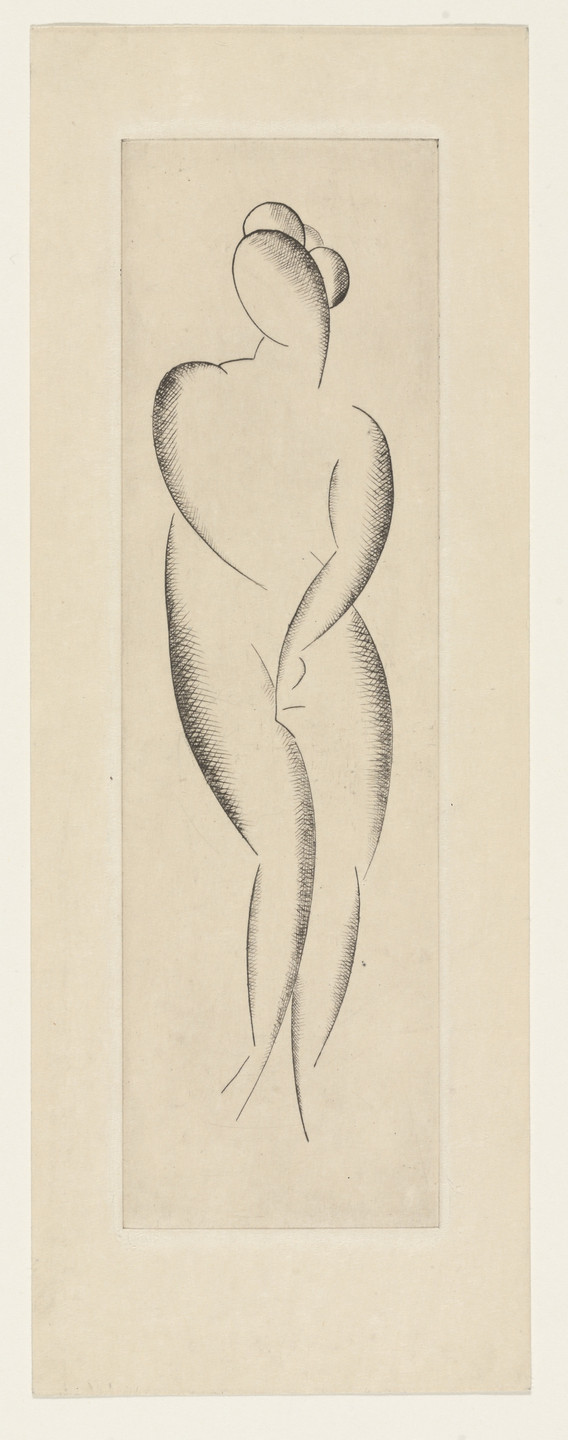 Elie Nadelman. Female Nude, Standing from The Drypoints of Elie Nadelman. 1951, published 1952