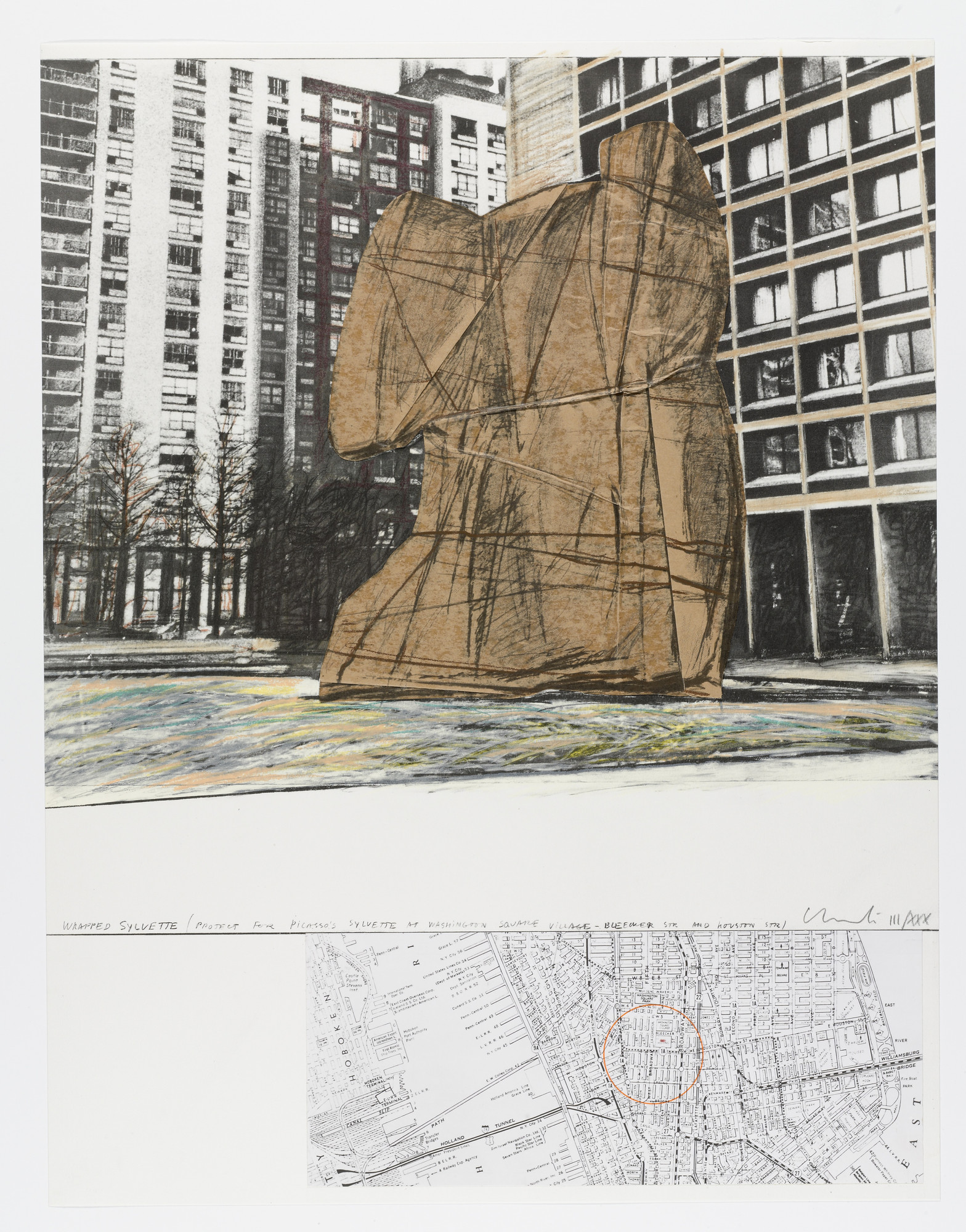 Christo. Wrapped Sylvette, Project for Washington Square Village, New York from Homage to Picasso (Hommage à Picasso). 1972, published 1973