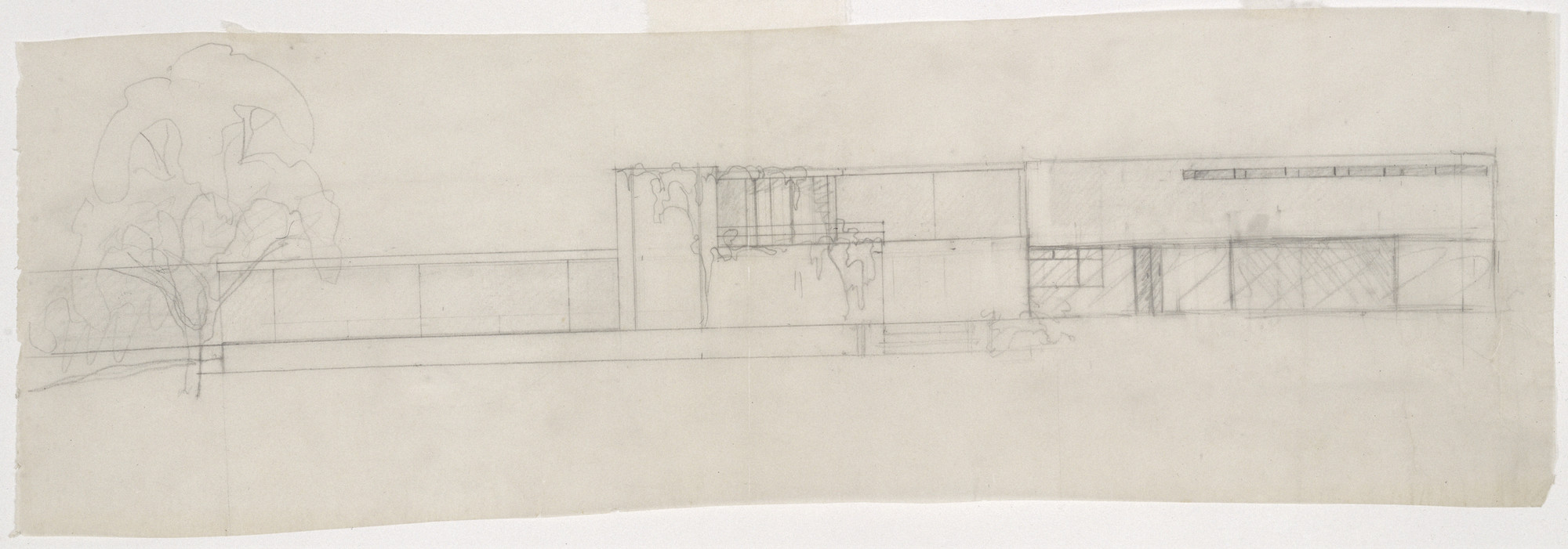 Ludwig Mies van der Rohe. Gericke House Project, Berlin-Wannsee, Germany, Elevation study facing the Wannsee. 1932