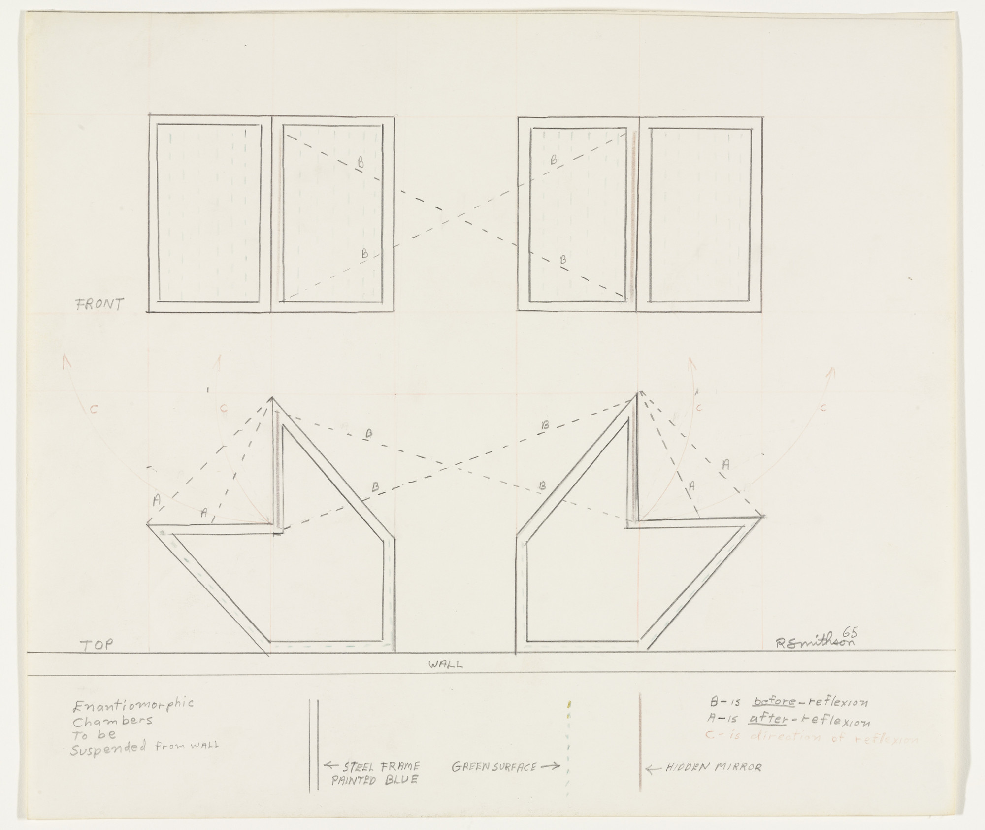 Robert Smithson. Drawing of Enantiomorphic Chambers. 1965