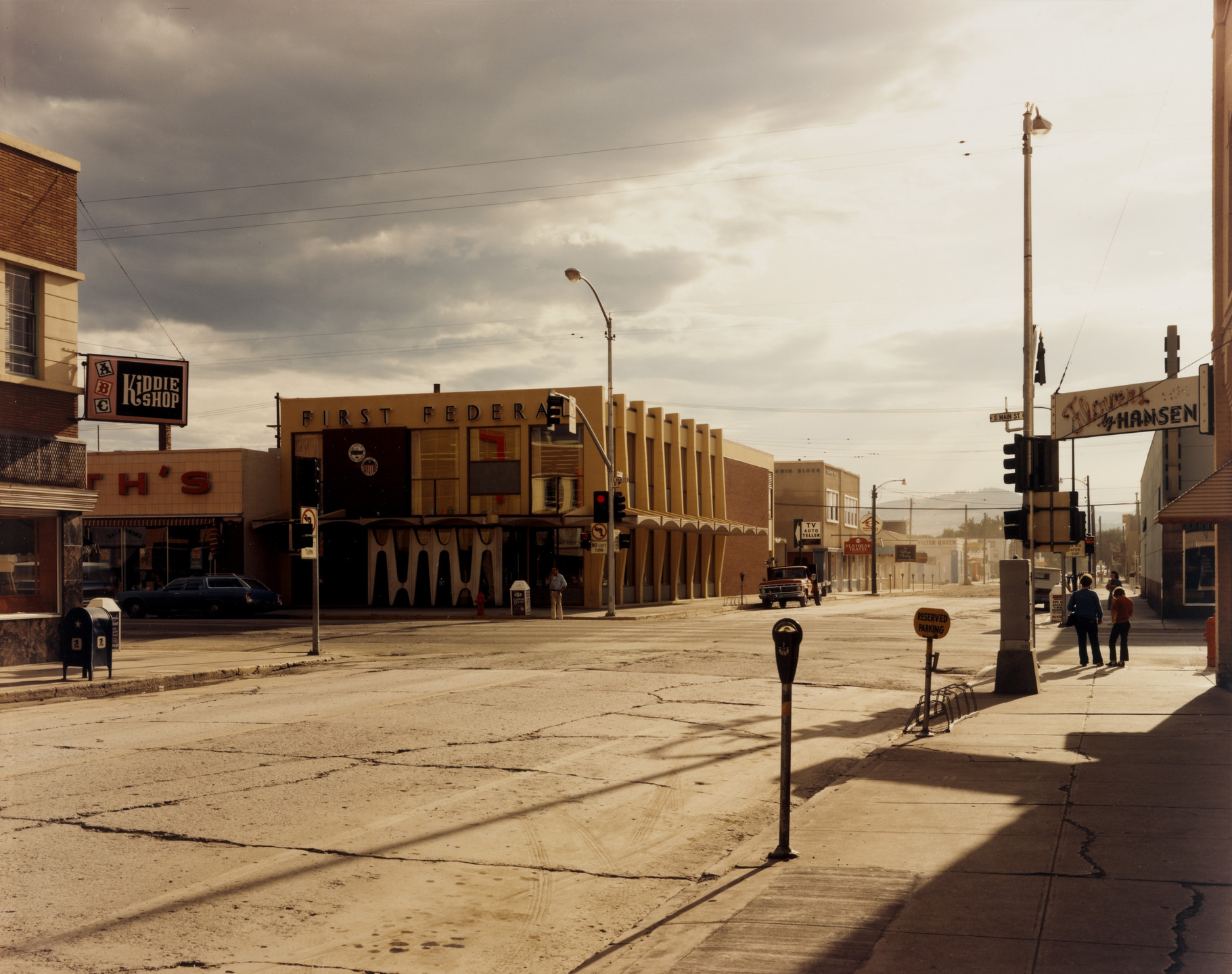 Stephen Shore. 2nd Street East and South Main Street, Kalispell, Montana, August 22, 1974. 1974