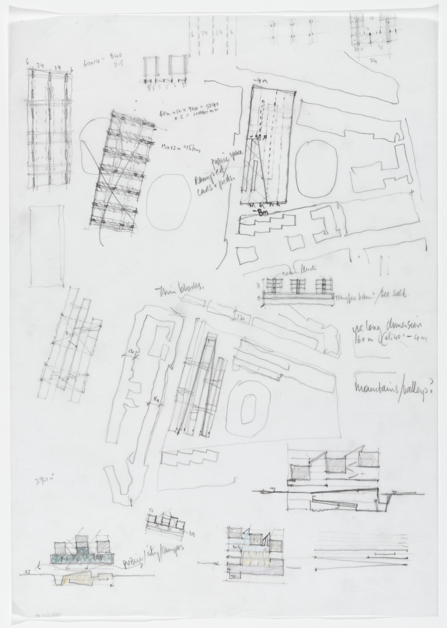 Yvonne Farrell, Shelley McNamara. Luigi Bocconi University, Milan, Italy (Elevation, section and plan sketches with notes). 2001