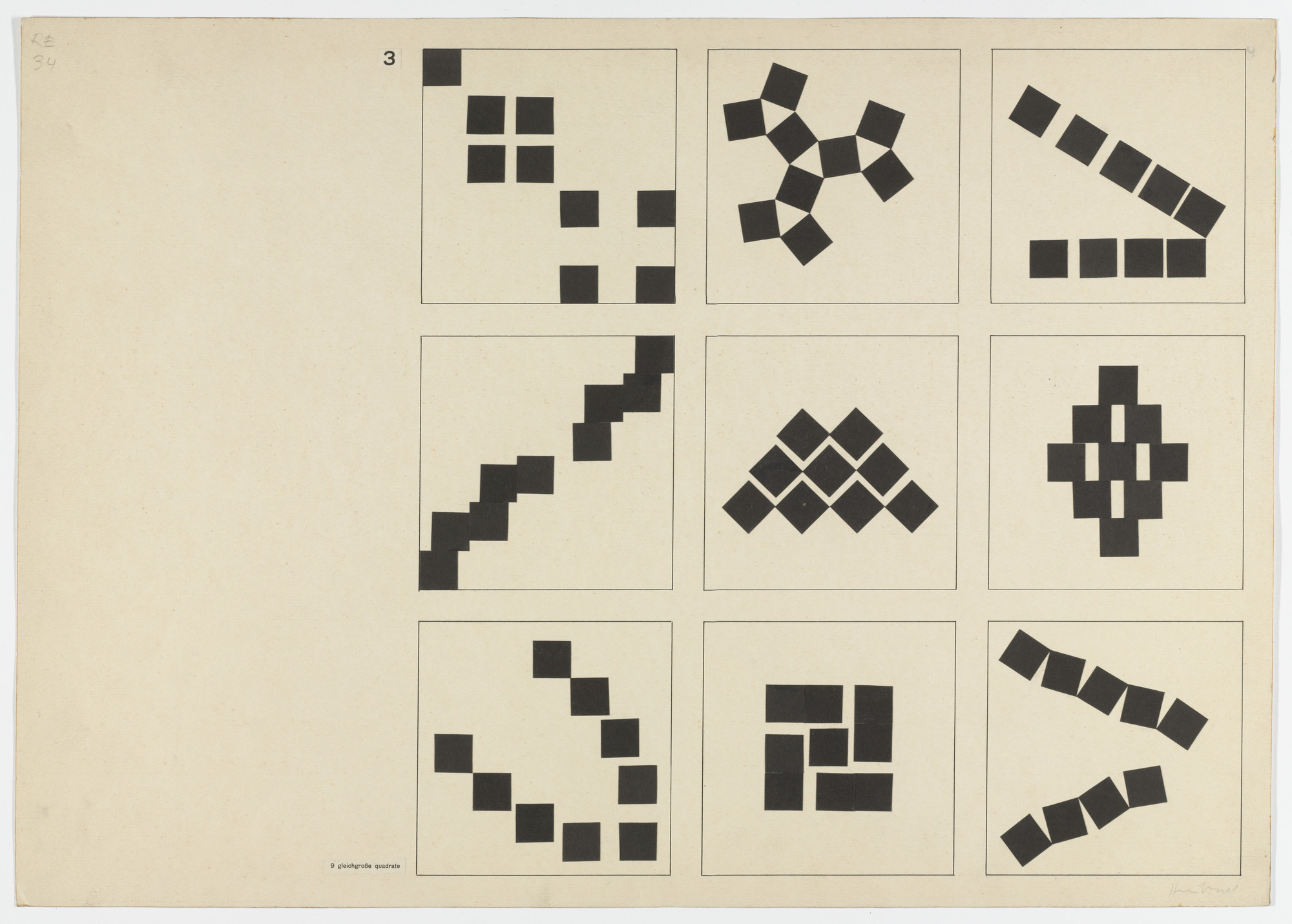 Albrecht Heubner. Studies in Composition. Given: Nine Squares of Equal Size (From Joost Schmidt's Bauhaus Design Course). 1930–1933