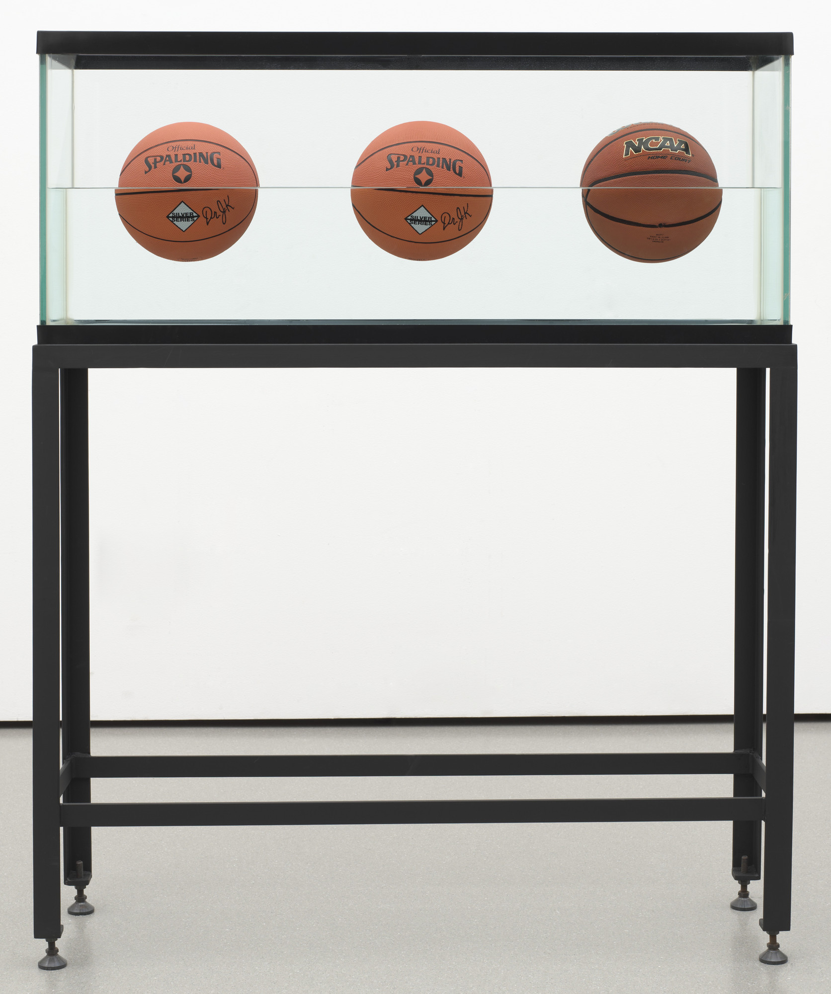Jeff Koons. Three Ball 50⁄50 Tank (Two Dr. J. Silver Series, One Wilson Supershot). 1985
