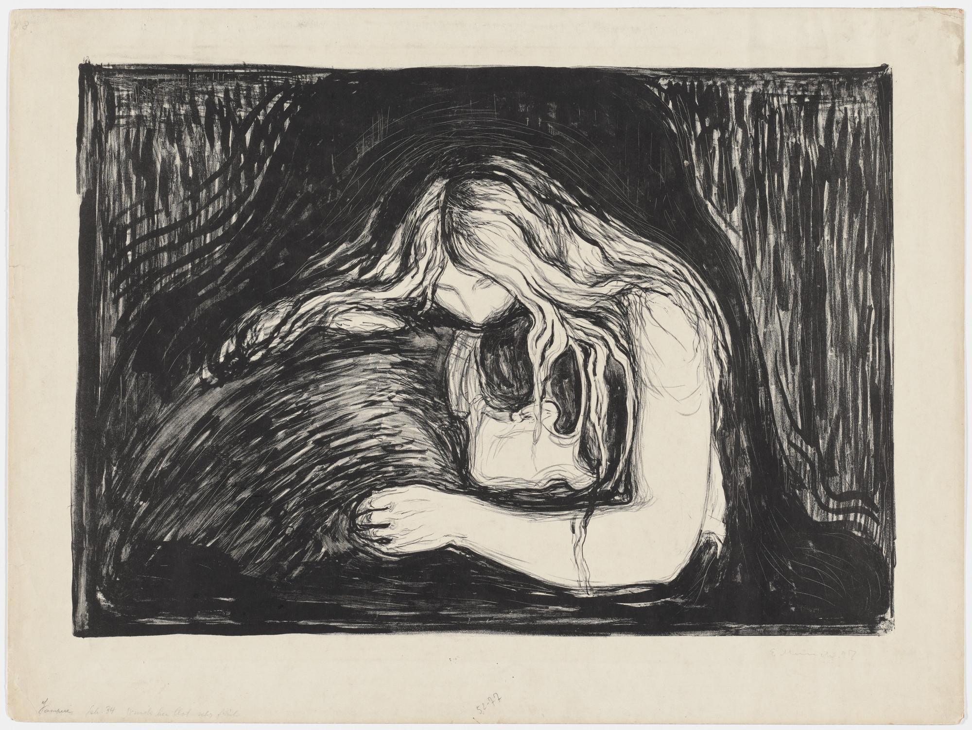 Edvard Munch. Vampire II (Vampyr II). 1895; signed 1897