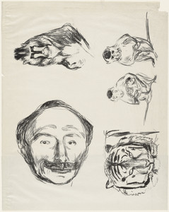 Four Studies (Portrait of Goldstein, Gorilla, Family of Monkeys and Tiger's Head)
