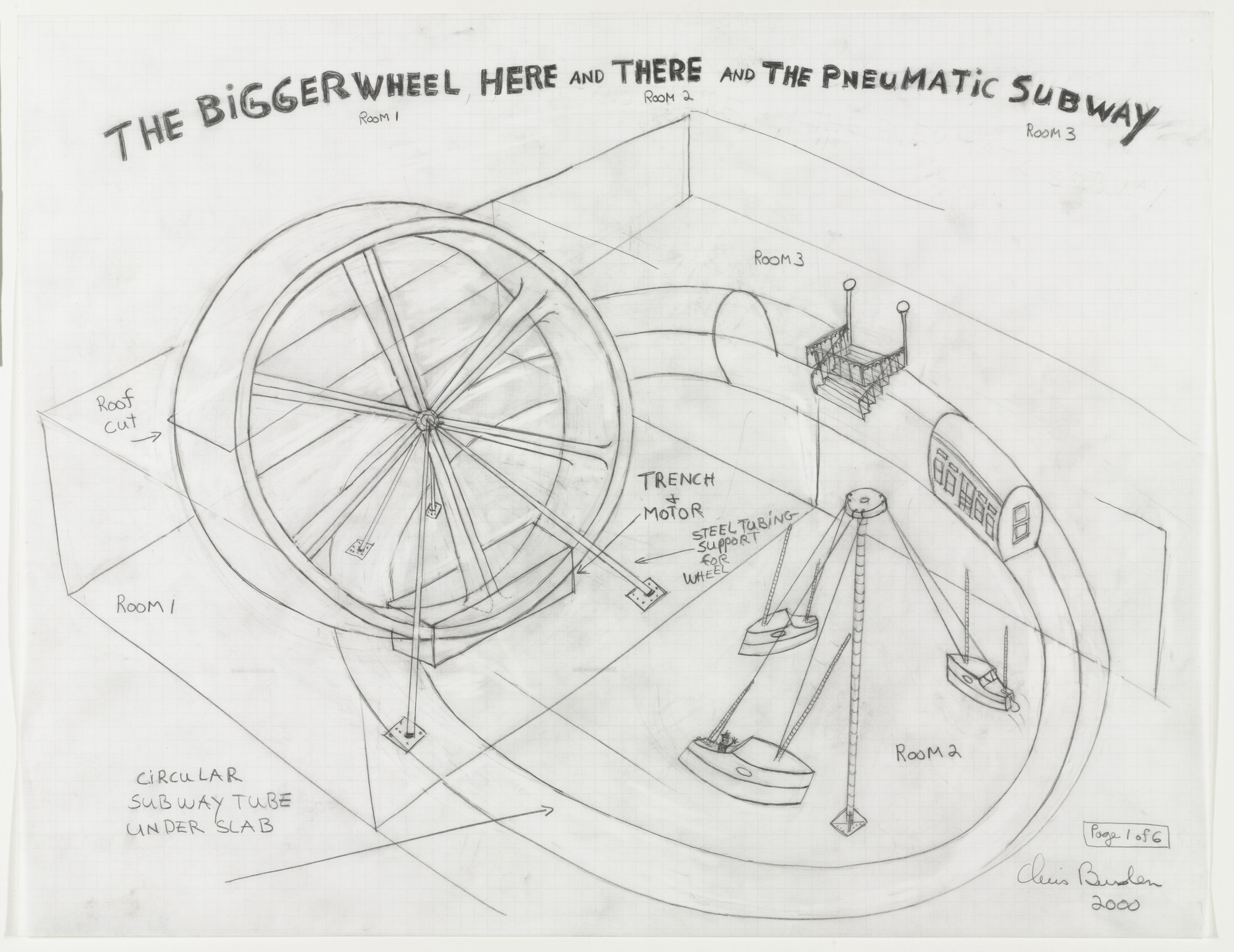 Chris Burden. 6 Drawings for Proposed Show at Gagosian Gallery. 2000