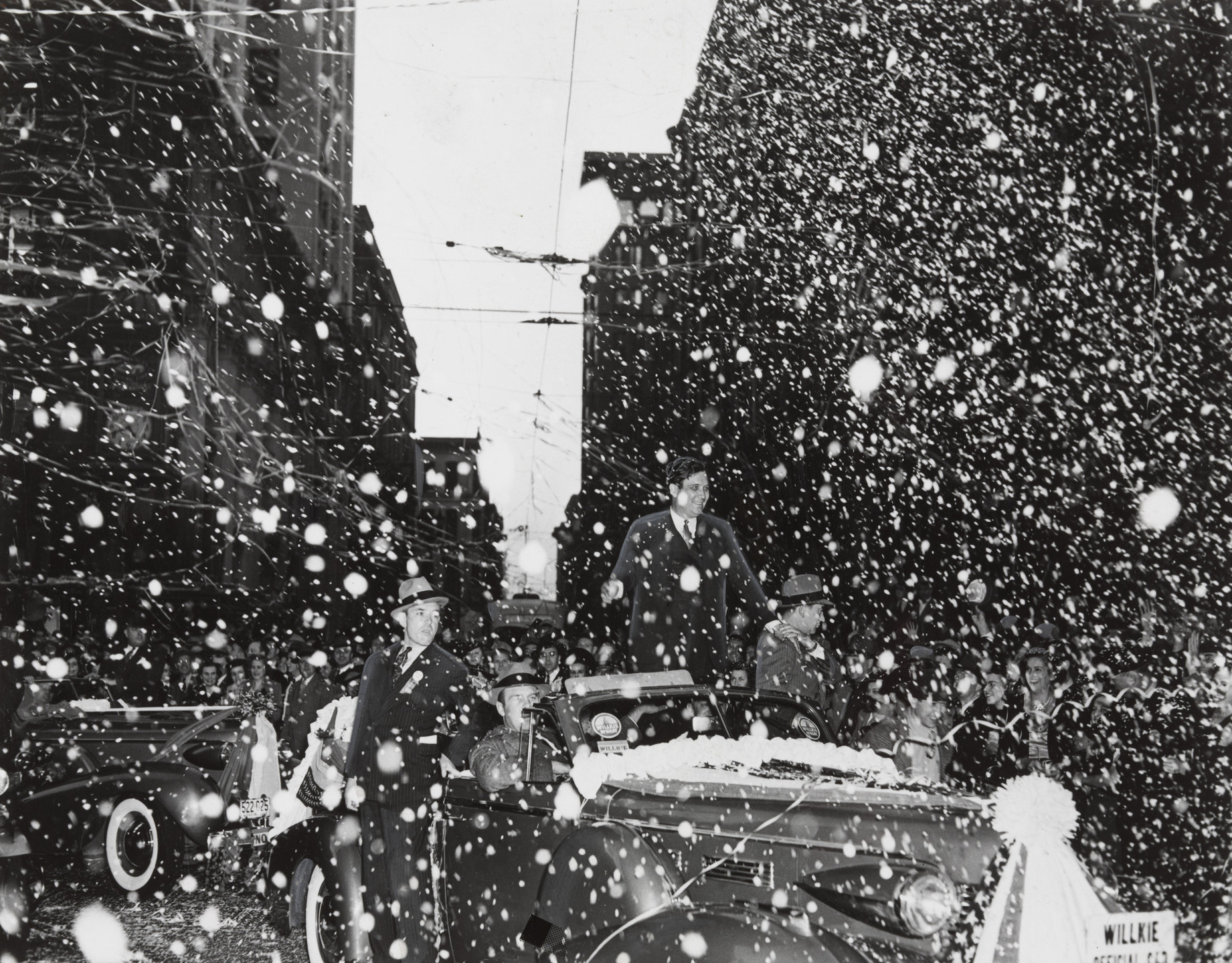 "Times Wide World Photos. ""A Showery Reception for Mr. Willkie in St. Louis"". October 18, 1940"