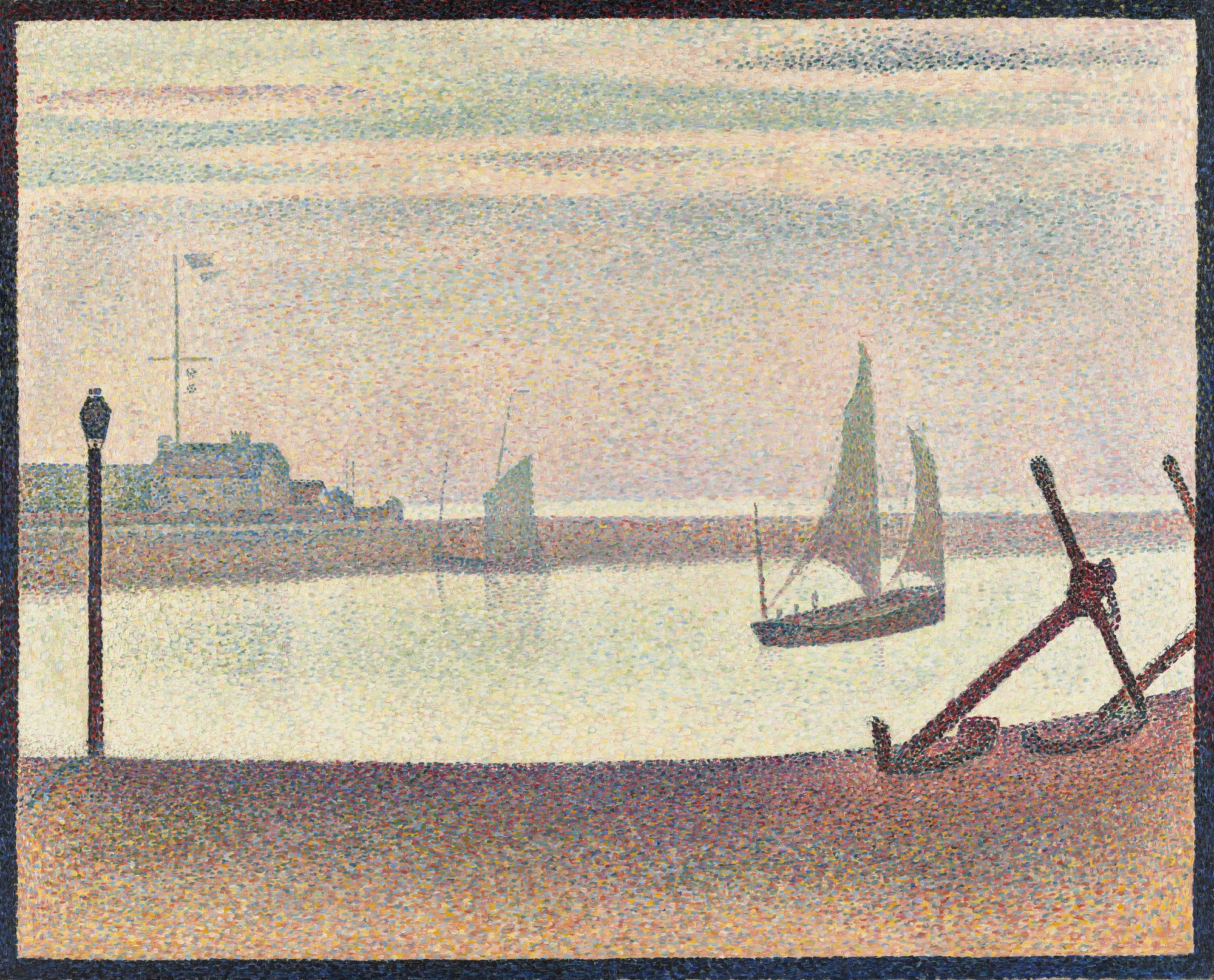 Georges-Pierre Seurat. The Channel at Gravelines, Evening, Marine avec des ancres. summer 1890