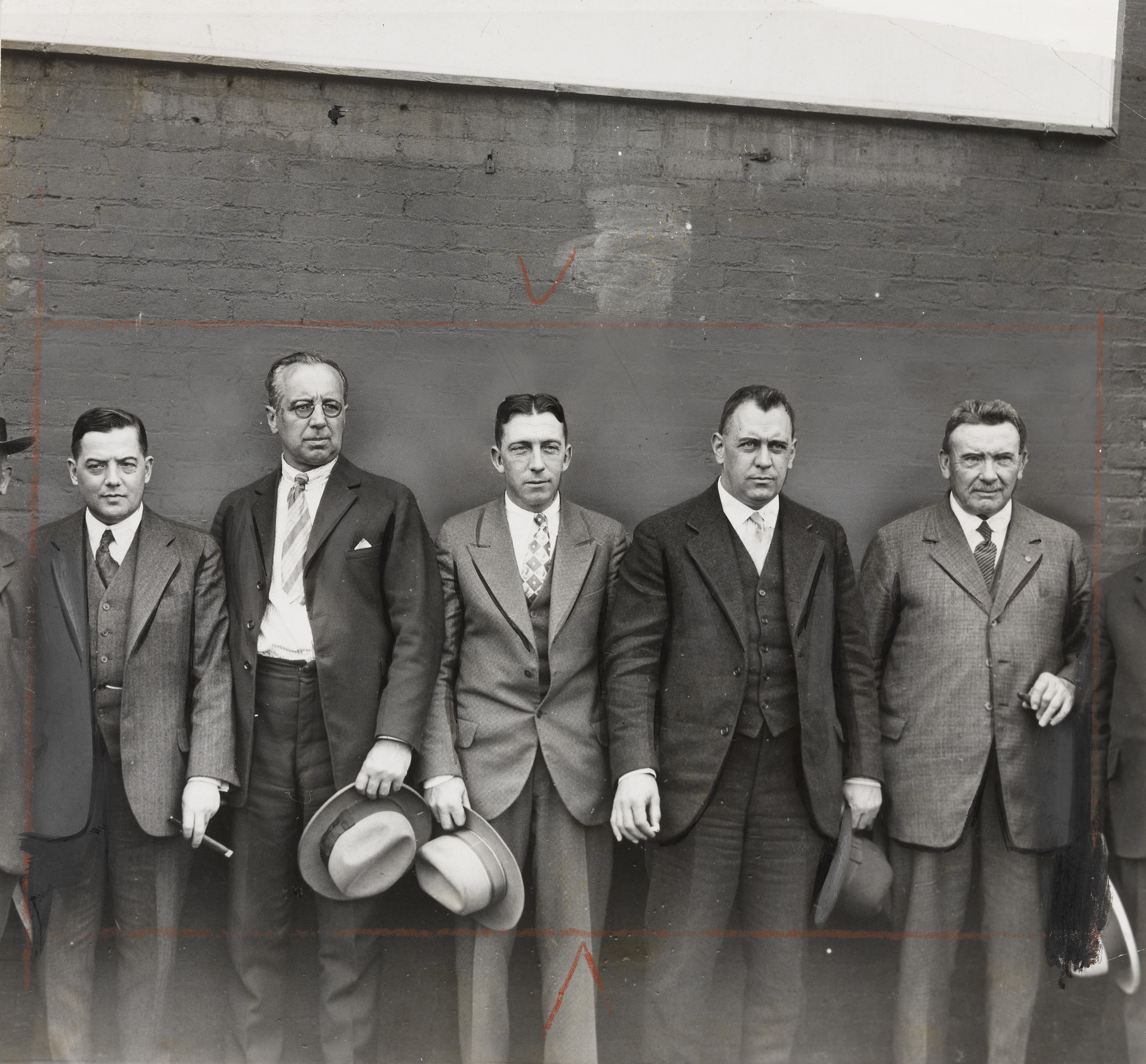 Times Wide World Photos. Men Against Wall. 1927