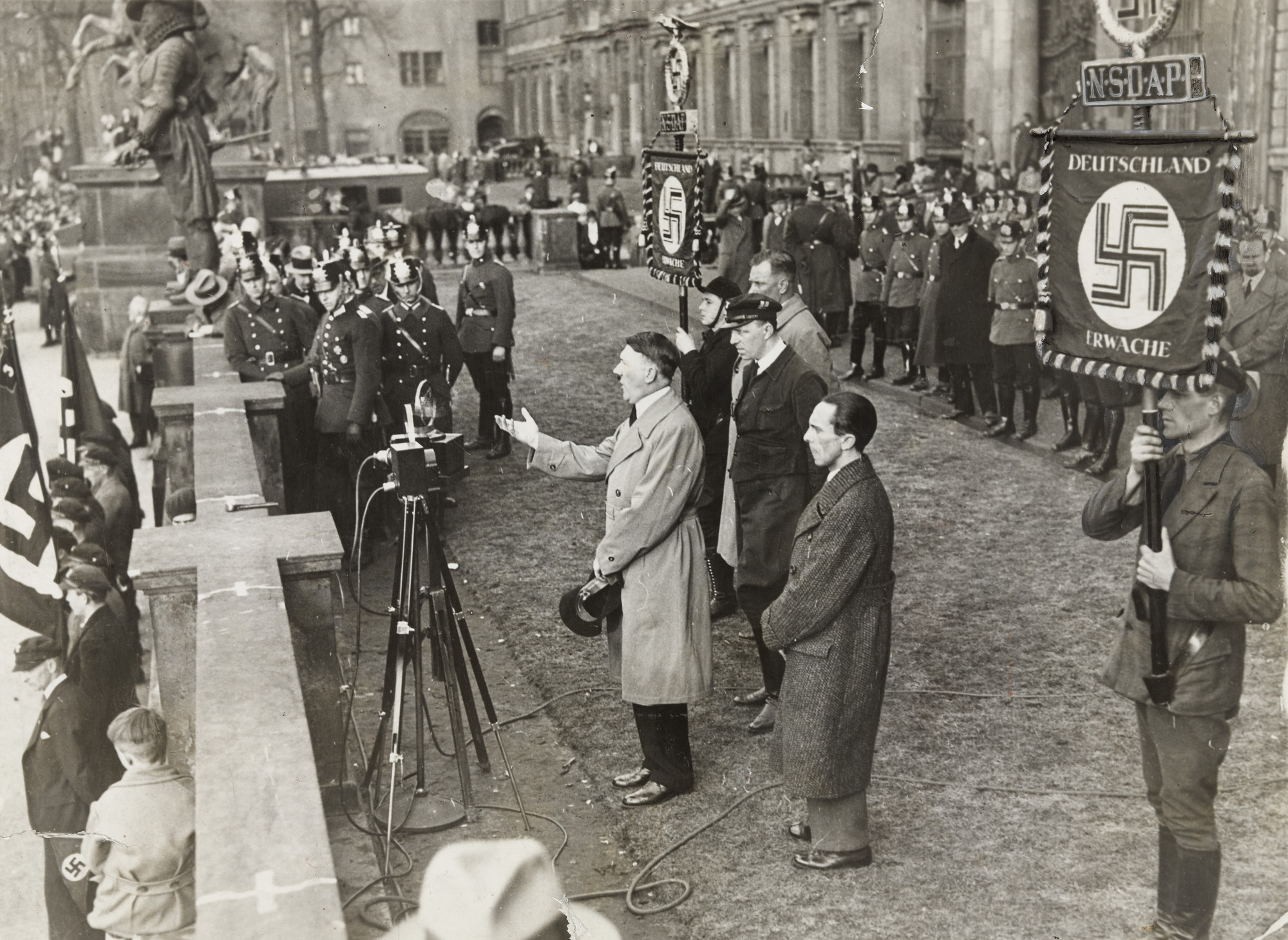 "Associated Press. ""Hitler at Microphone"". c. 1933"