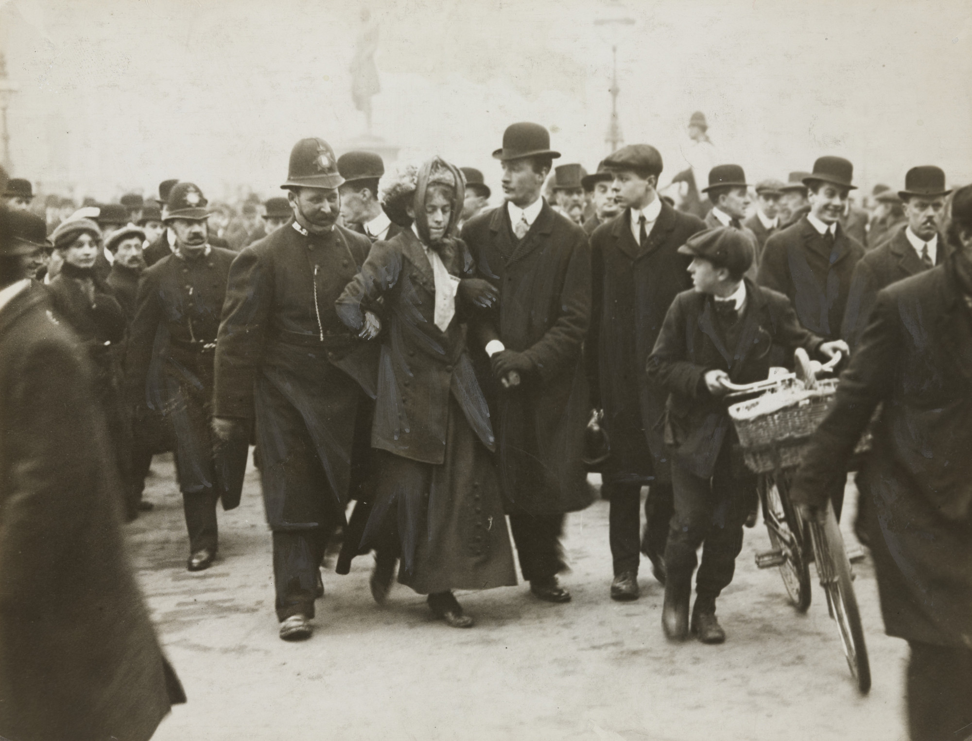Brown Brothers. An Arrest When the Suffragettes Began a Riot in Parliament, London. 1912