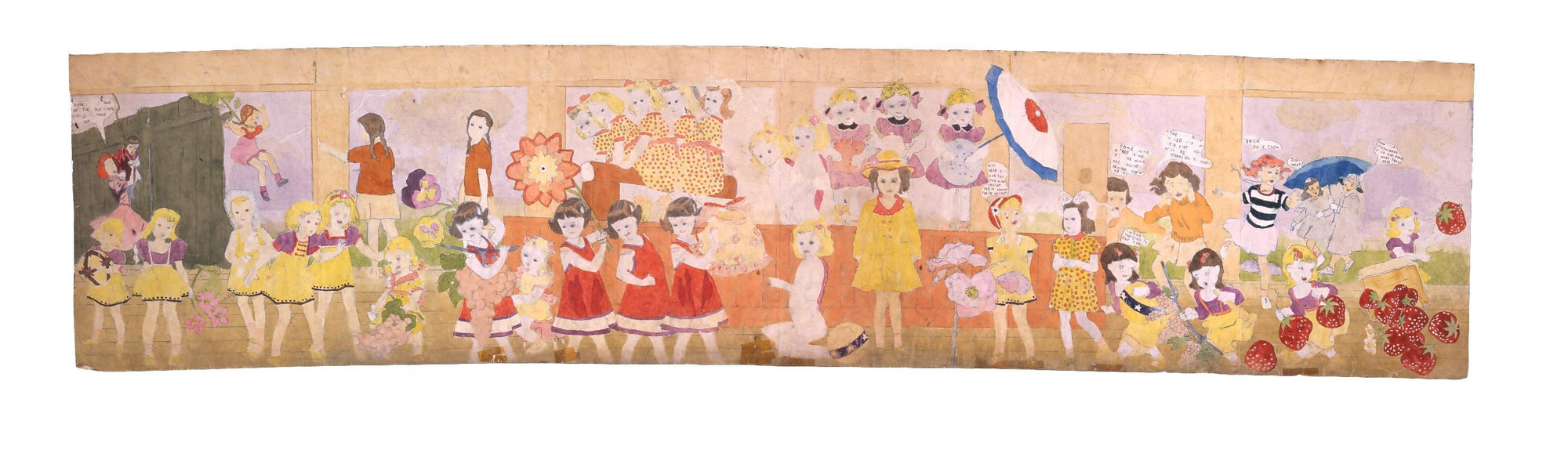 Henry Darger. a) Untitled (Grape shaped damna fruit) b) Untitled (Vines strangling girls). (n.d.)