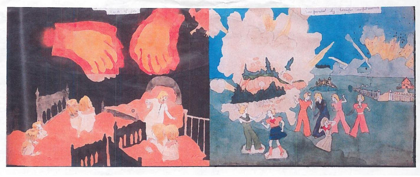 Henry Darger. a) At McCalls run. A demon appears in room. Hands of fire. Torrington imperaled by explosion b) At Jennie Richee During full fury of storm enemy soldiers seize them at the caves mouth and they are strangled to senselessness,. (n.d.)