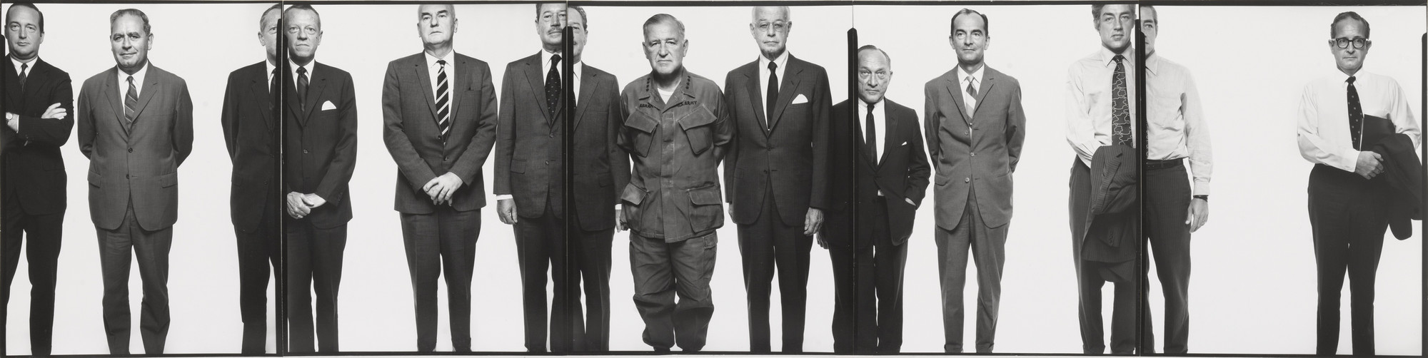 Richard Avedon. The Mission Council. Left to right: Hawthorne Q. Mills, Mission Coordinator; Ernest J. Colantonio, Counselor of Embassy for Administrative Affairs; Edward J. Nickel, Minister Counselor for Public Affairs; John E. McGowan, Minister Counselor for Press, affairs; George D. Jacobson, assistant chief of staff; General Creighton W. Abrams, commander United States Military Assistance Command, Vietnam; Ambassador Ellsworth Bunker; Deputy Ambassador Samuel D. Berger; John R. Mossler, minister director, United, States Agency for International Development; Charles A. Cooper, minister counselor for economic affairs; Laurin B. Askew, counselor of Embassy for Political Affairs. Saigon, South Vietnam. April 27, 1971