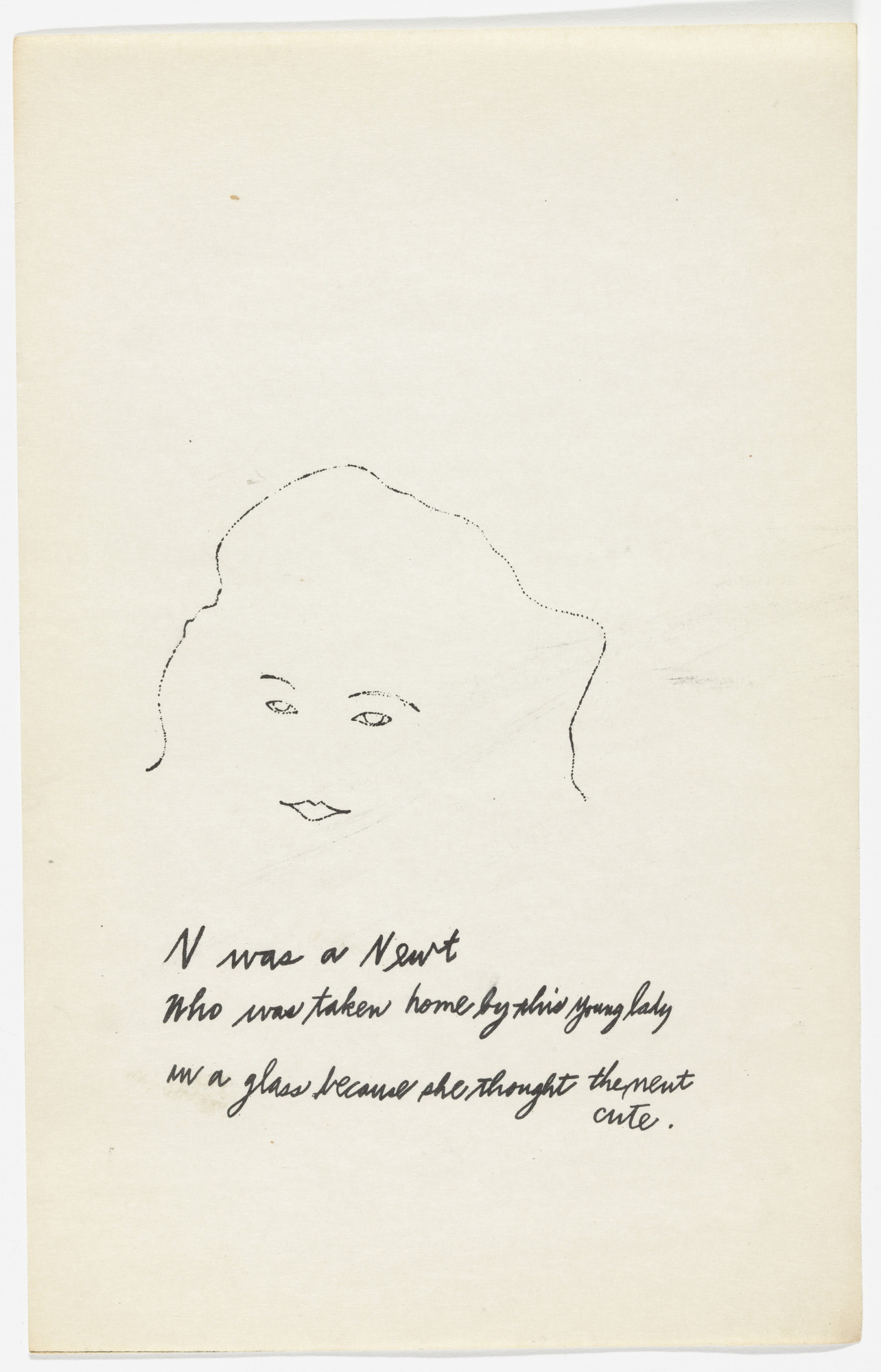 Andy Warhol, Ralph Thomas Ward (Corkie). Untitled from A is an Alphabet. 1953