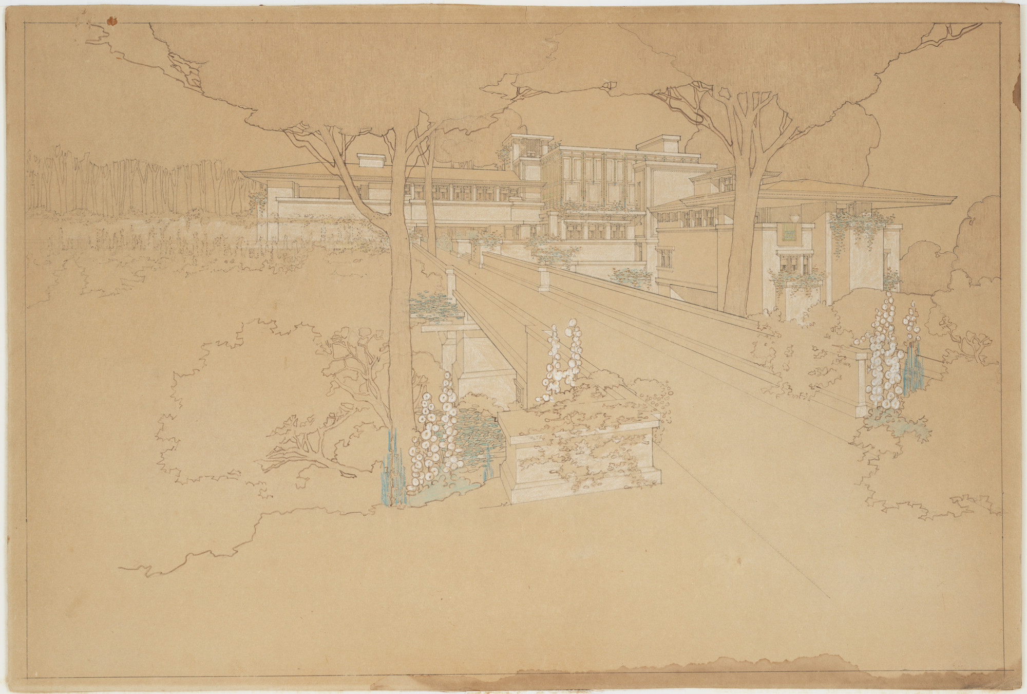Frank Lloyd Wright. Sherman H. Booth Residence, Glencoe, Illinois, Perspective of Scheme One. 1911