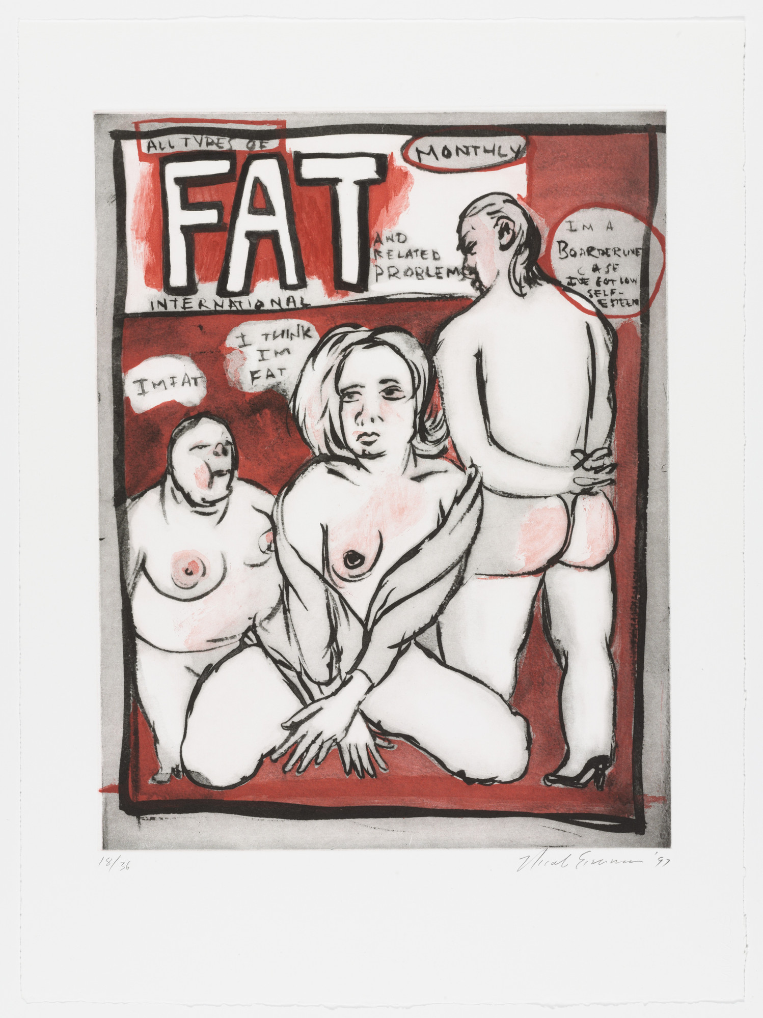 "Nicole Eisenman. All Types of Fat International from 20"" x 15"". 1997"