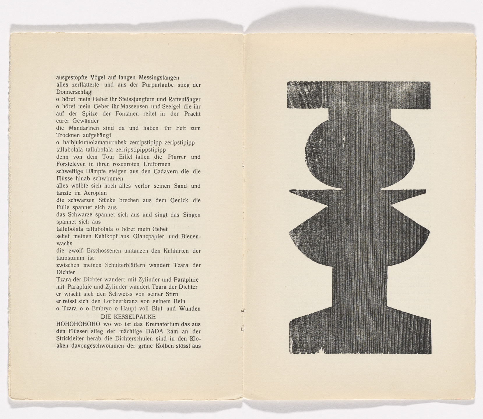 Jean (Hans) Arp. Plate (folio 7) from Phantastische Gebete (Fantastic Prayers). 1916
