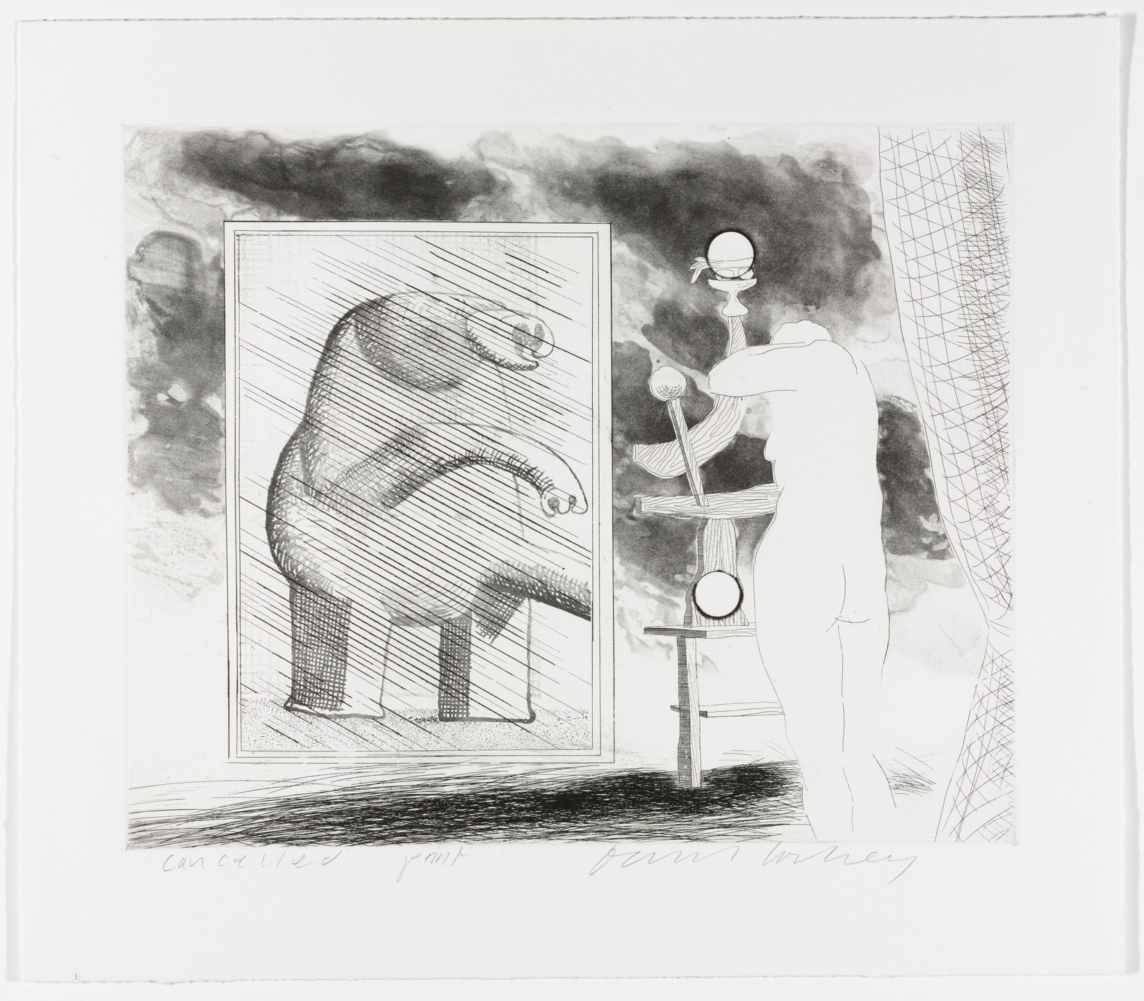 David Hockney. Cancellation proof for A Picture of Ourselves from The Blue Guitar. 1977