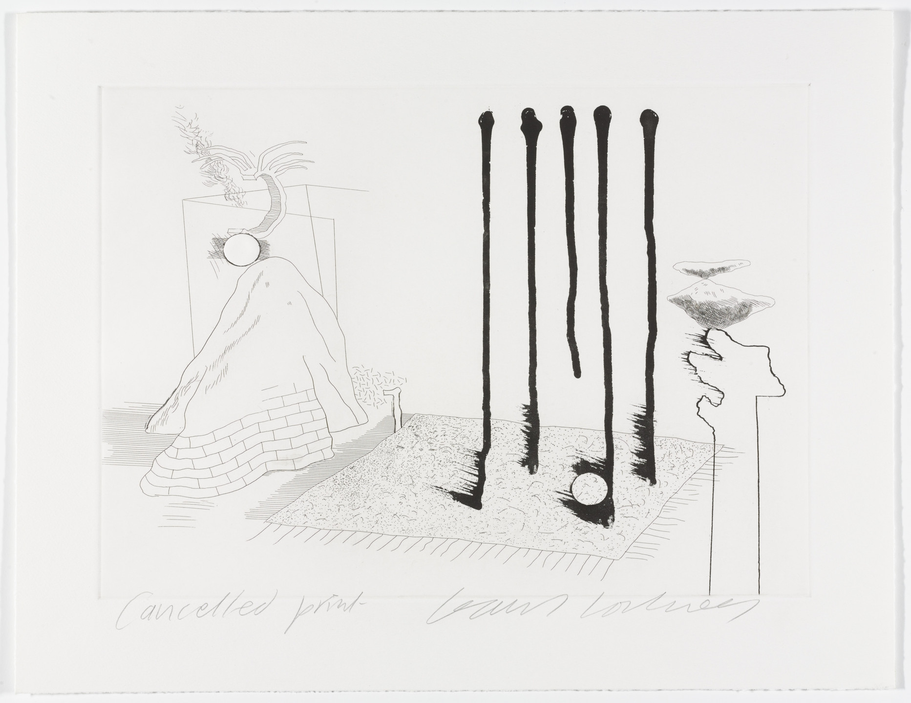 David Hockney. Cancellation proof for I Say They Are from The Blue Guitar. 1977